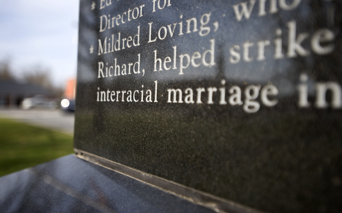 An inscription on a monument in Bowling Green, Va., honors Mildred and Richard Loving