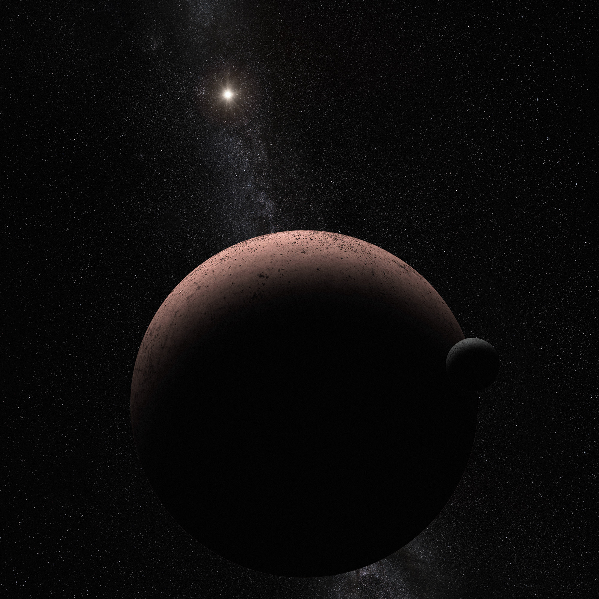 This artist's concept shows the distant dwarf planet Makemake and its newly discovered moon. Makemake and its moon, nicknamed MK 2, are more than 50 times farther away than Earth is from the sun.