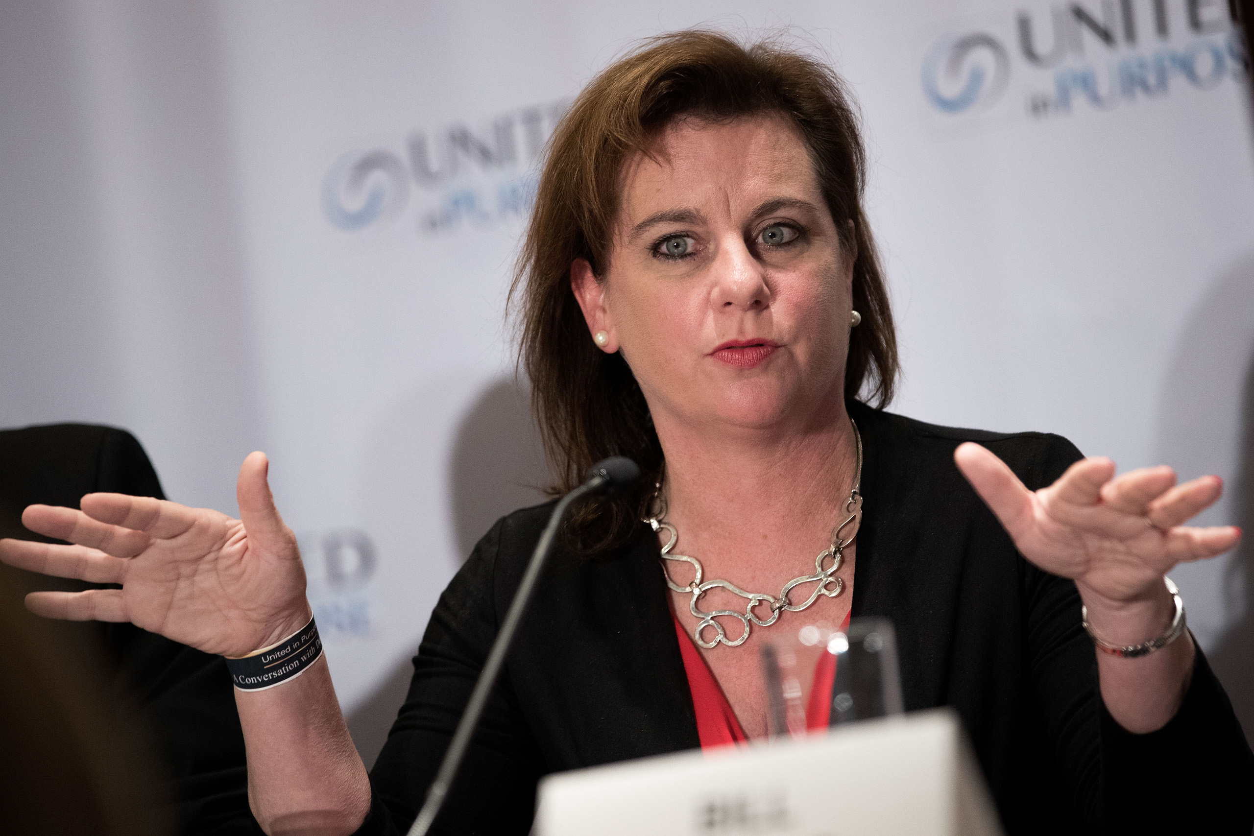 Marjorie Dannenfelser, president of Susan B. Anthony List, speaks during a press conference following a meeting with Republican presidential candidate Donald Trump at the Marriott Marquis Hotel in New York City on June 21, 2016.