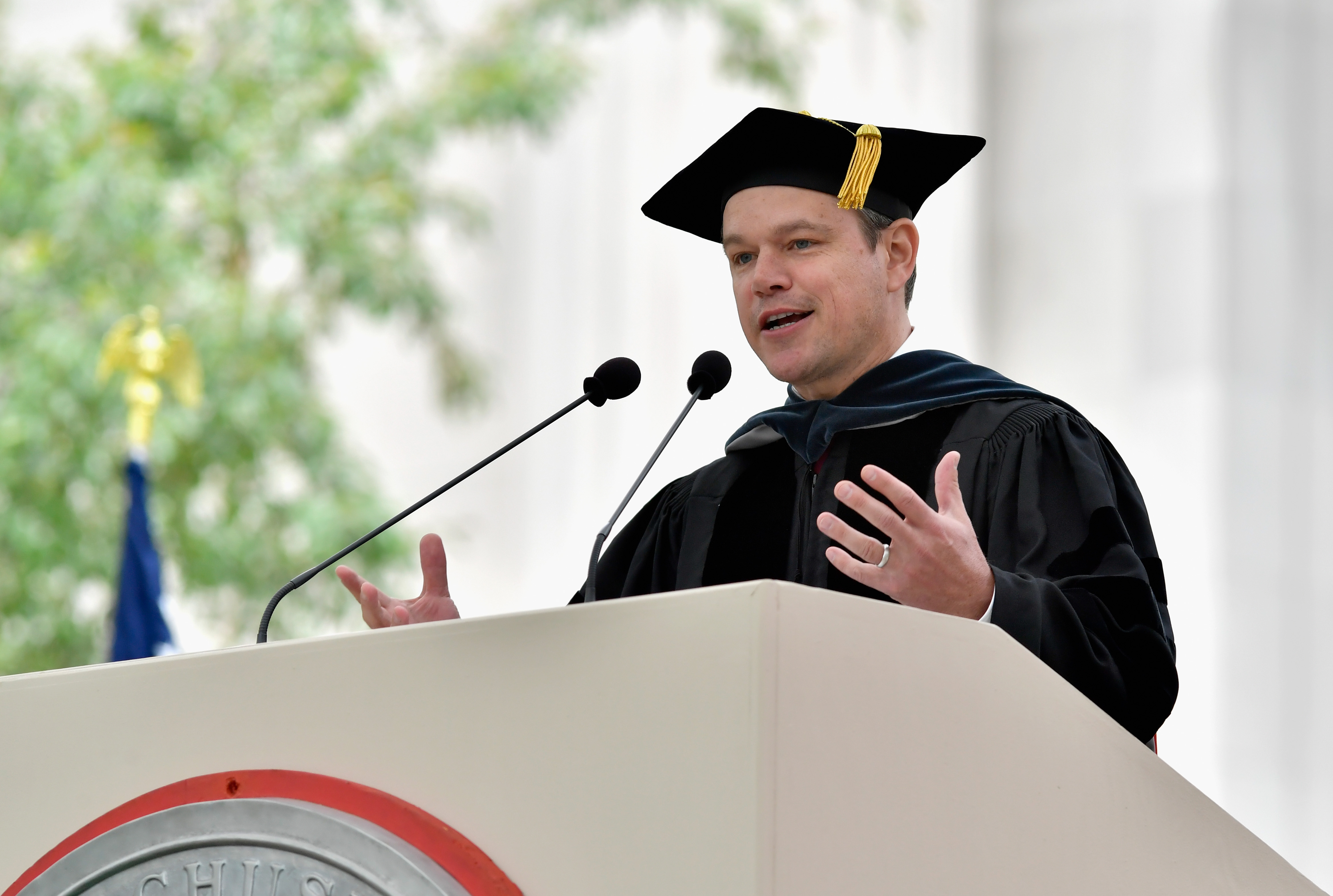 Matt Damon delivers the commencement address to graduating students at MIT on June 3 in Cambridge, Massachusetts.