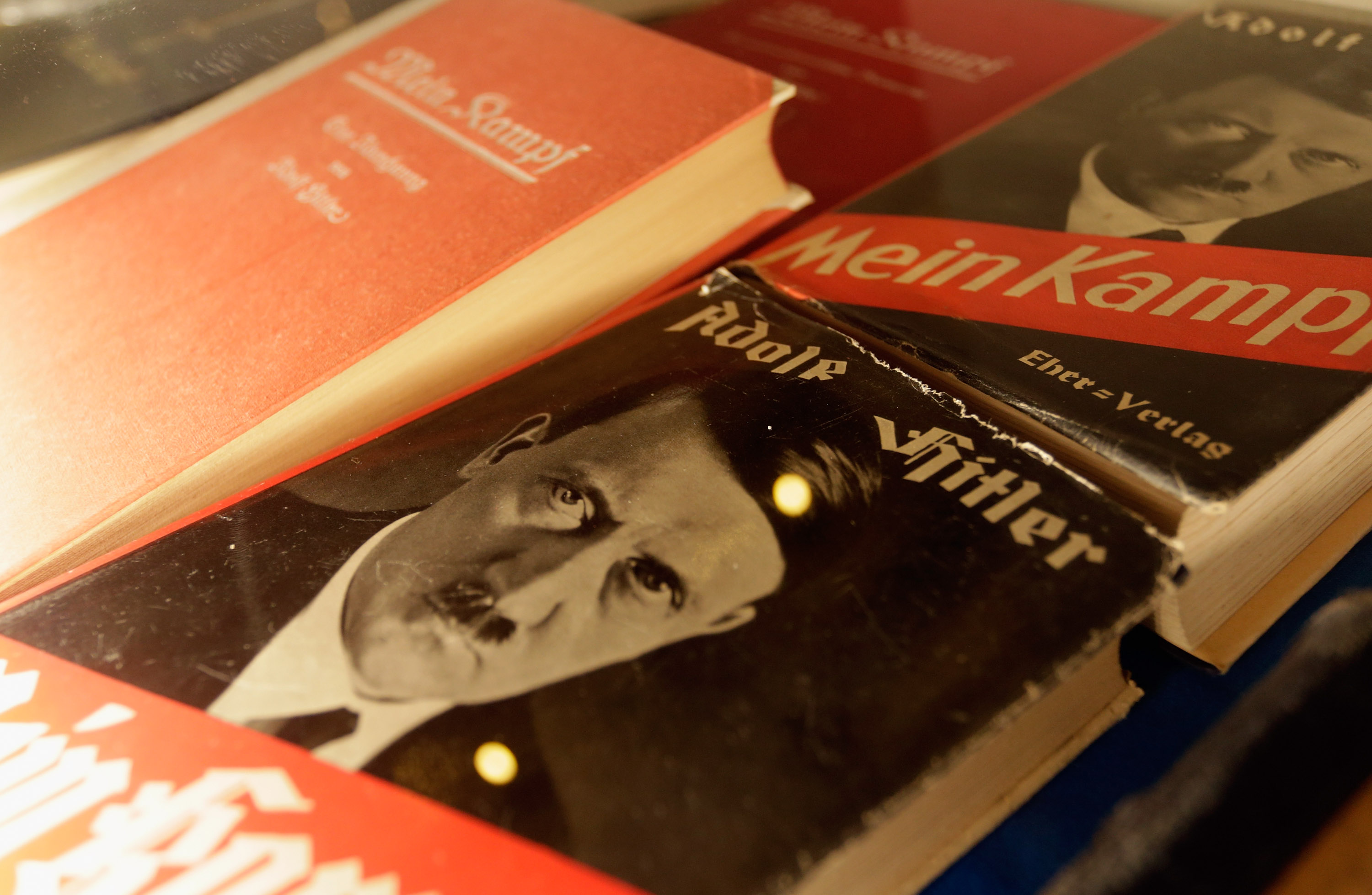 Historic copies of Adolf Hitler's  Mein Kampf  are displayed during the book launch of a new critical edition at the Institut fuer Zeitgeschichte (Institute for Contemporary History) on January 8, 2016 in Munich, Germany.