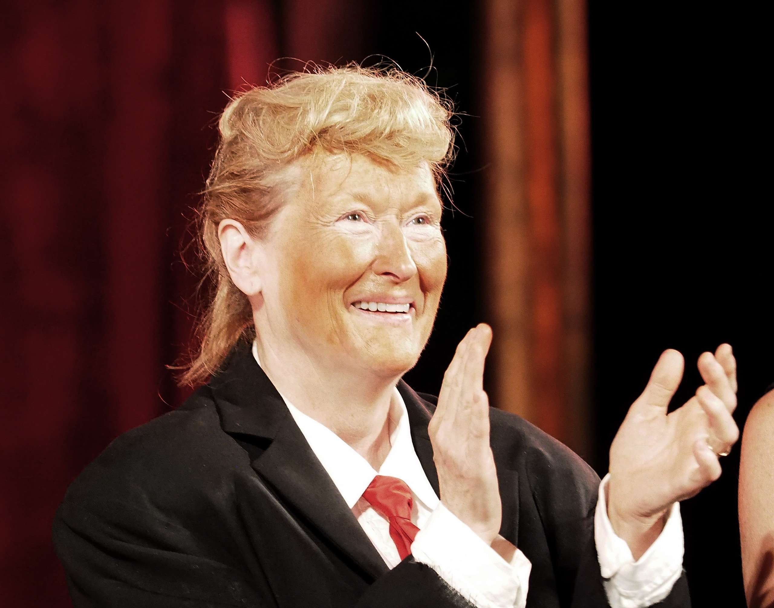 Meryl Streep, dressed as Donald Trump, performs onstage at the 2016 Public Theater Gala at Delacorte Theater in New York City on June 6, 2016.