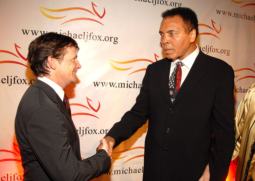 Michael J. Fox and Muhammad Ali during  A Funny Thing Happened on the Way to Cure Parkinson's  2006 Benefit for The Michael J. Fox Foundation in New York.