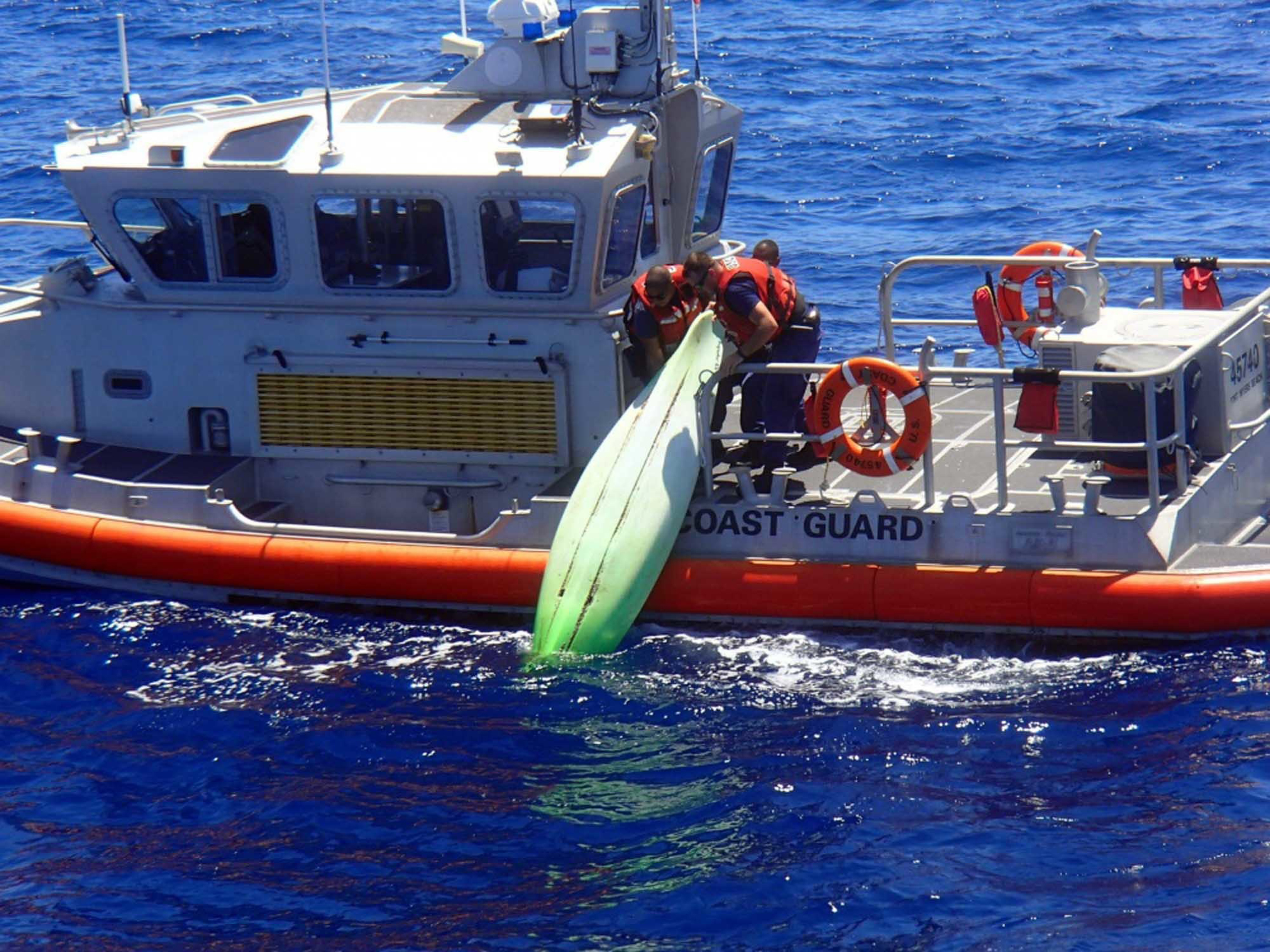 A kayak recovered within a debris field off the coast of Sanibel, Fla., during the search for the missing family on June 22, 2016.