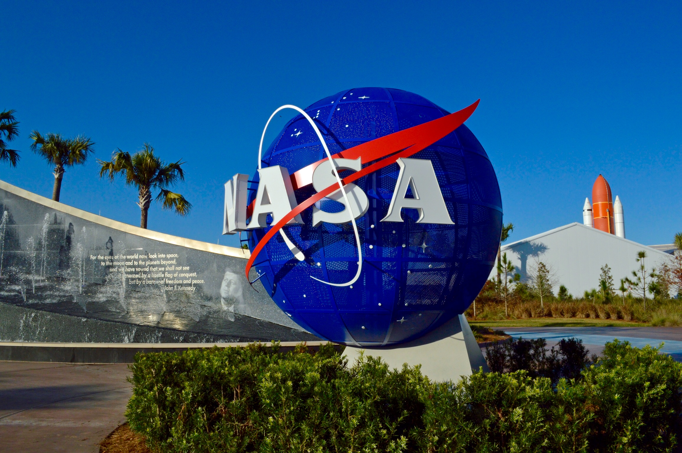 NASA logo is seen at the Kennedy Space Center in Florida.