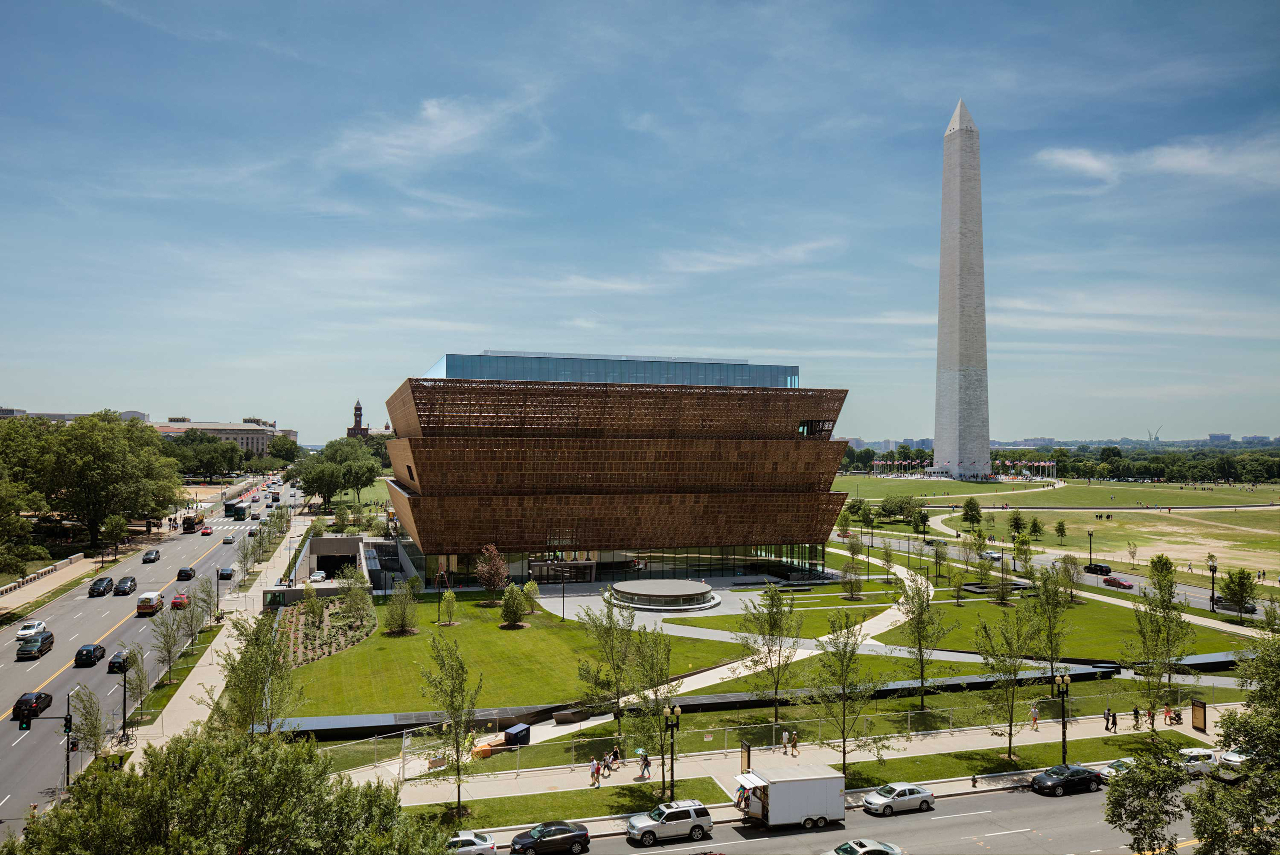The National Museum of African American History and Culture (NMAAHC) is a Smithsonian Institution museum established in 2003. The museum's building, designed by David Adjaye, is currently under construction on the National Mall in Washington, D.C..   The museum says it will open its doors September 24, 2016. Photographed Thursday June 9, 2016.