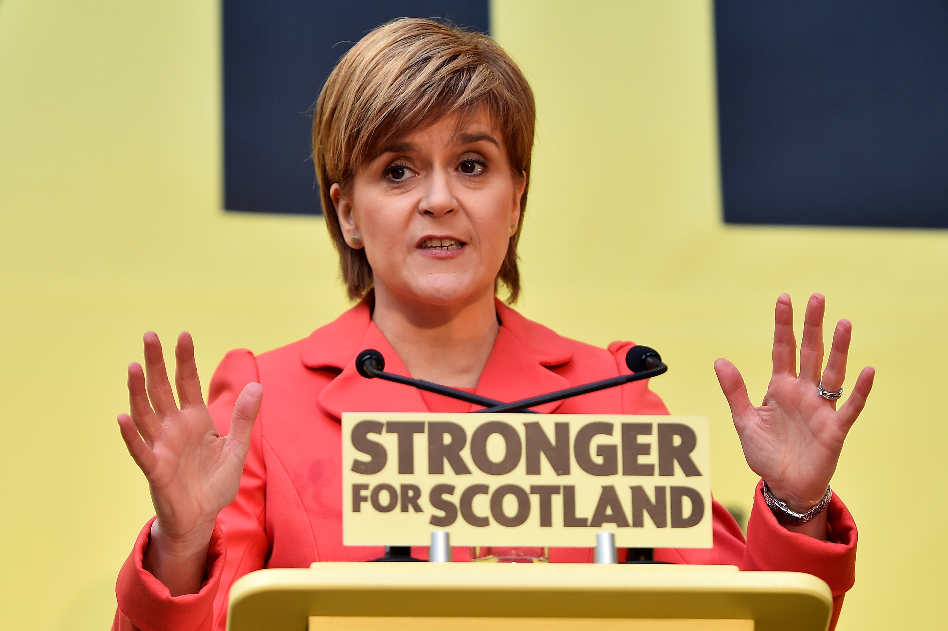 SNP leader Nicola Sturgeon launches the Scottish National Party manifesto at the Edinburgh International Climbing Arena, EICA Ratho, on April 20, 2015 in Edinburgh, Scotland