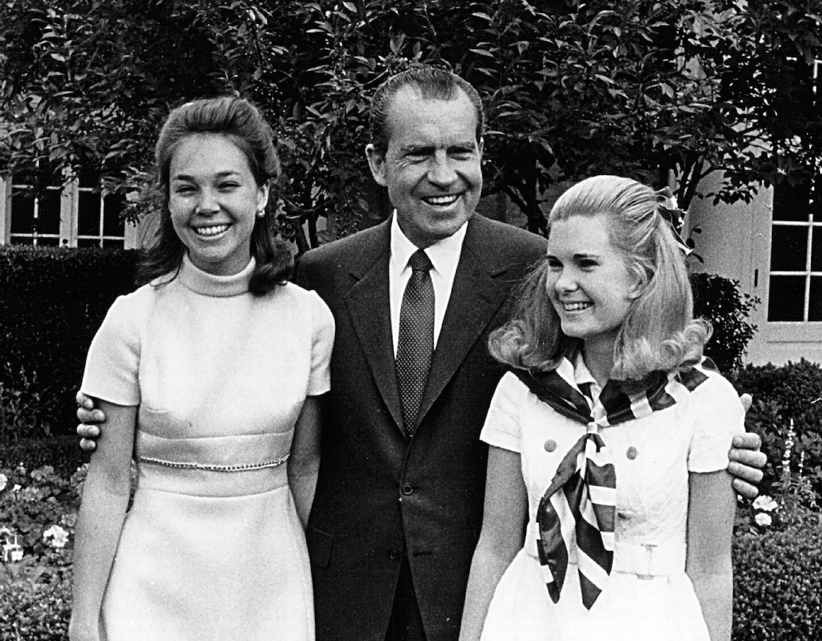 President Richard Nixon with his daughters, Julie(left) and Tricia(right), June 13, 1969 at the White House.