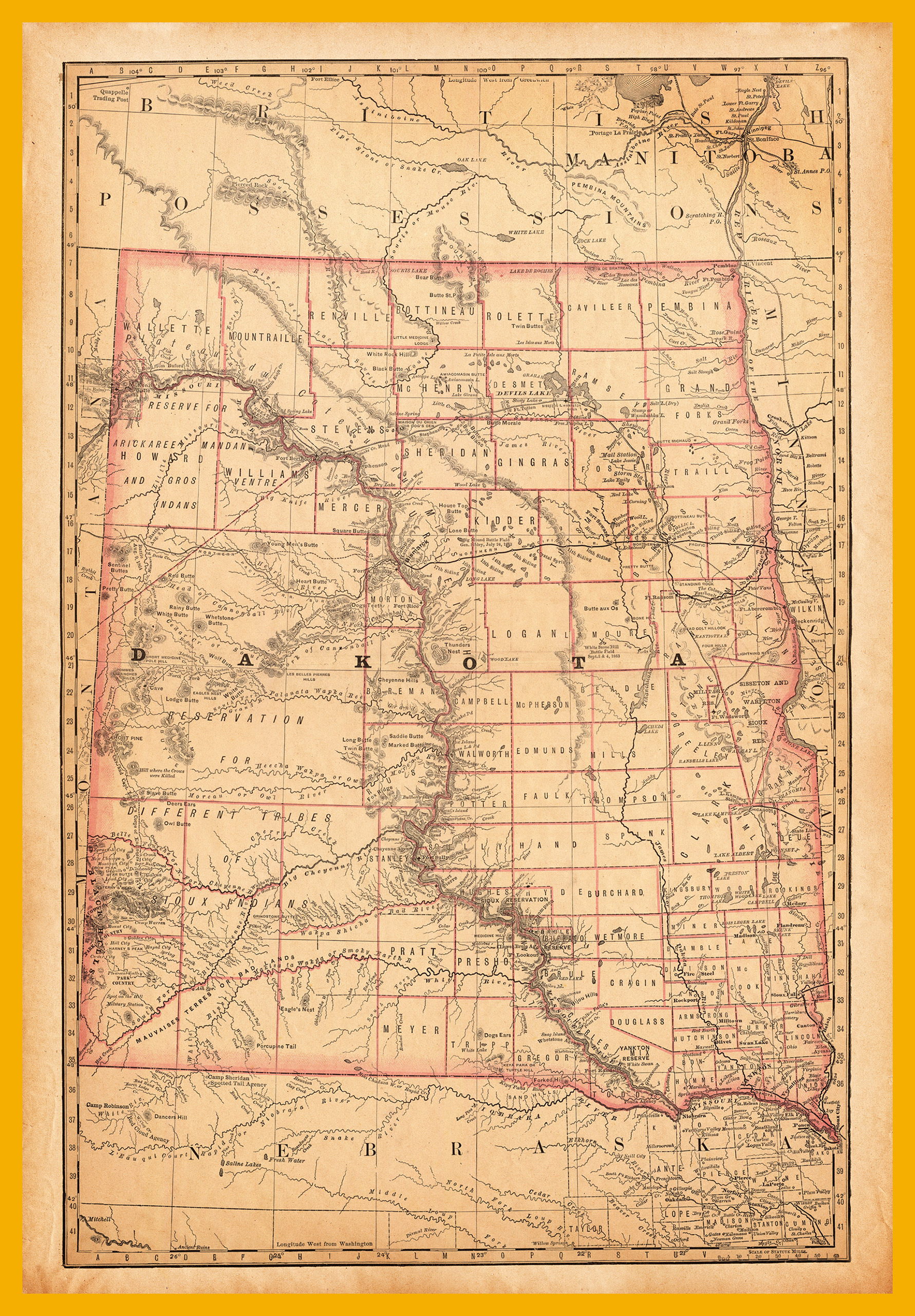 Map of Dakota, 1881.