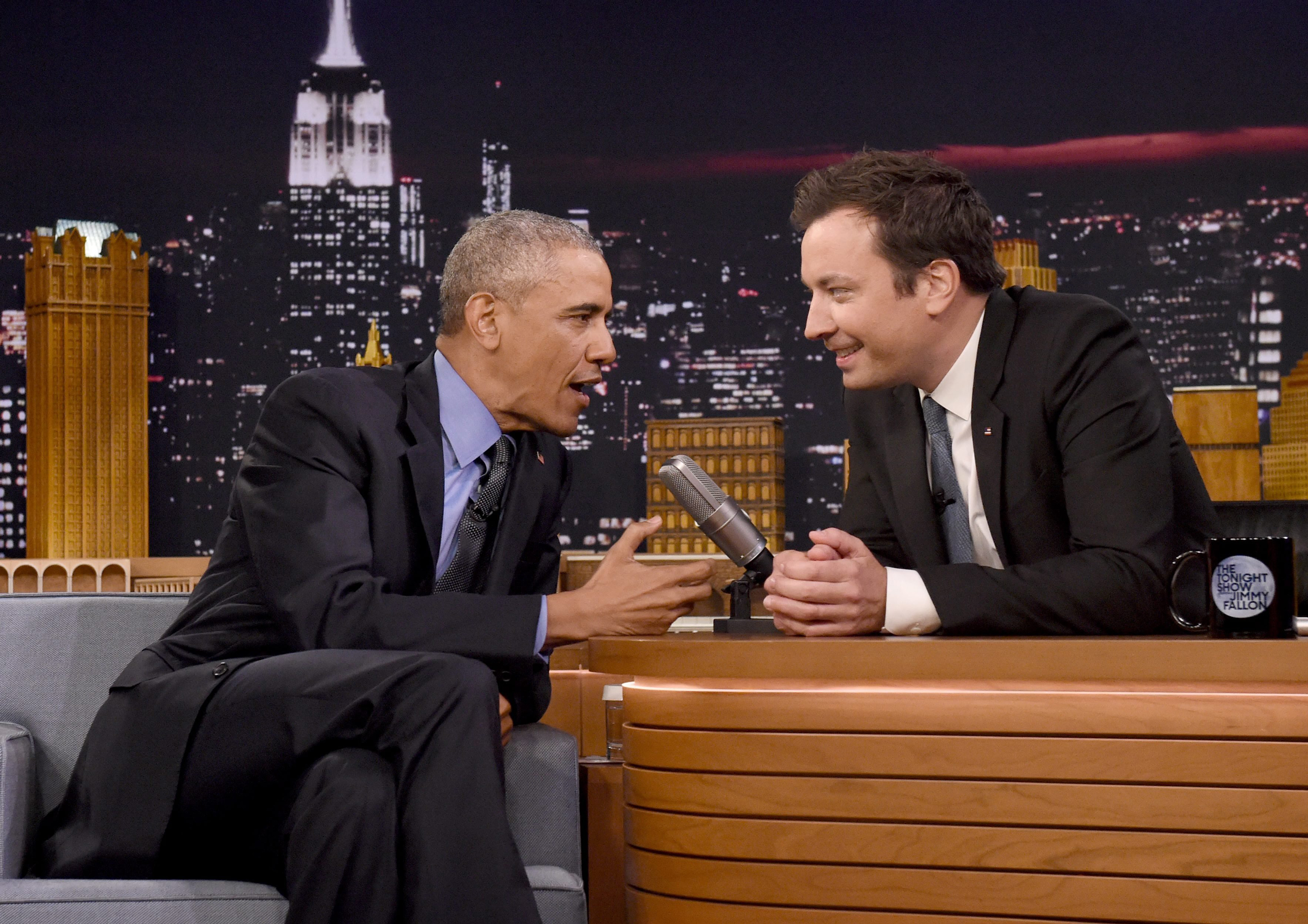 President Barack Obama speaks with Jimmy Fallon on the set of the Tonight Show at NBC Studios in New York on June 8, 2016.