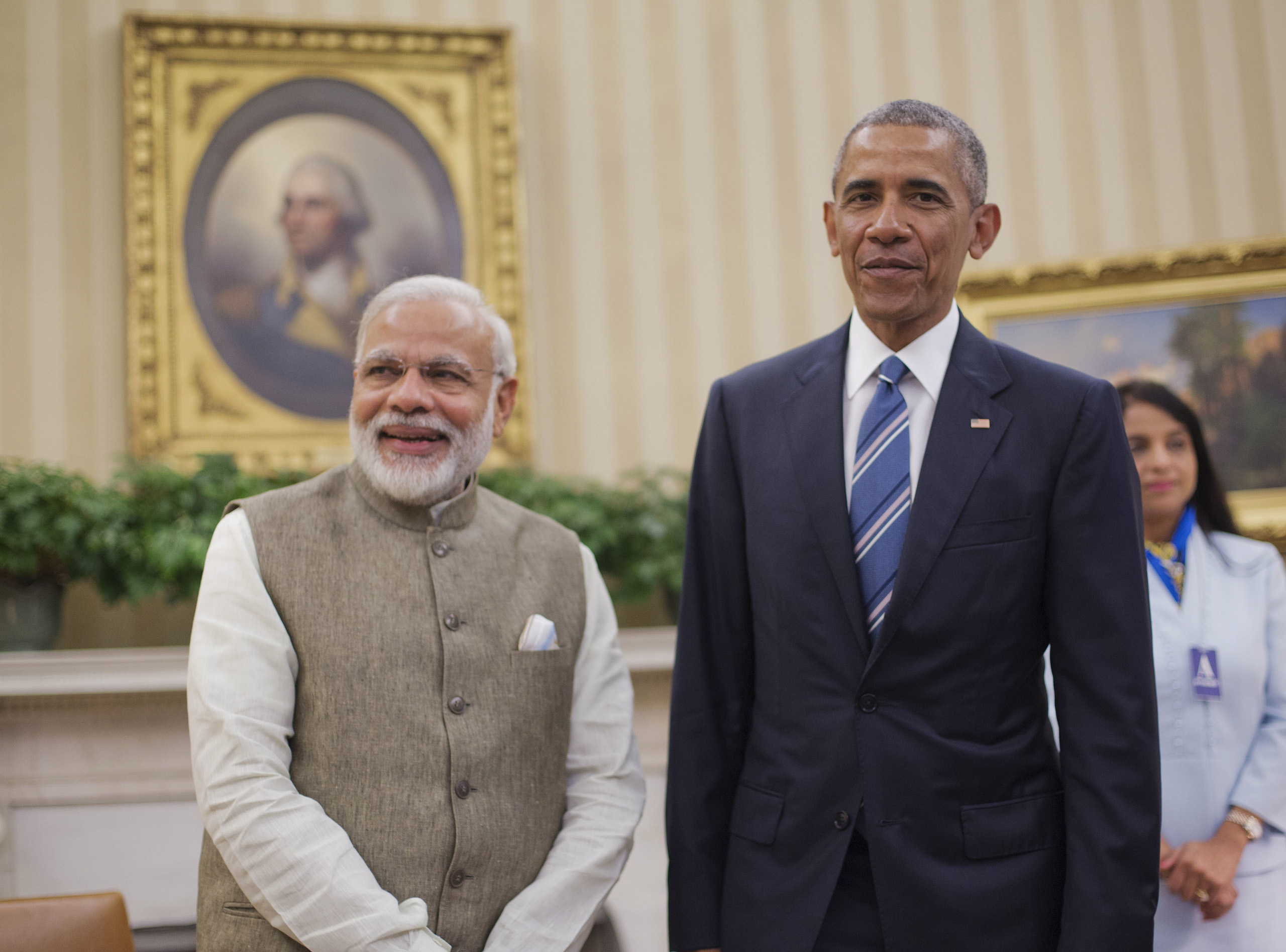 President Barack Obama meets with Indian Prime Minister India Narendra Modi in the Oval Office of the White House in Washington, D.C.,  June 7, 2016.