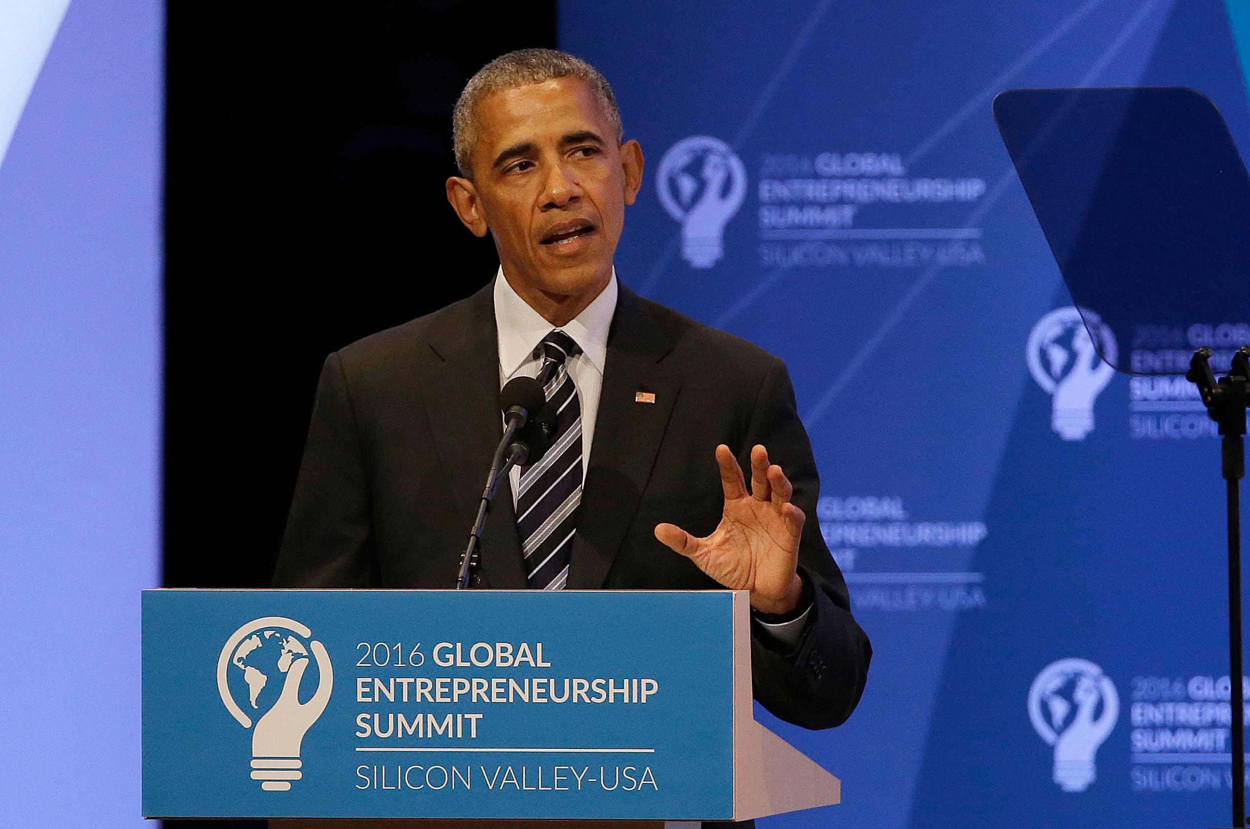 President Barack Obama speaks at the Global Entrepreneurship Summit in Stanford, Calif., on June 24, 2016.