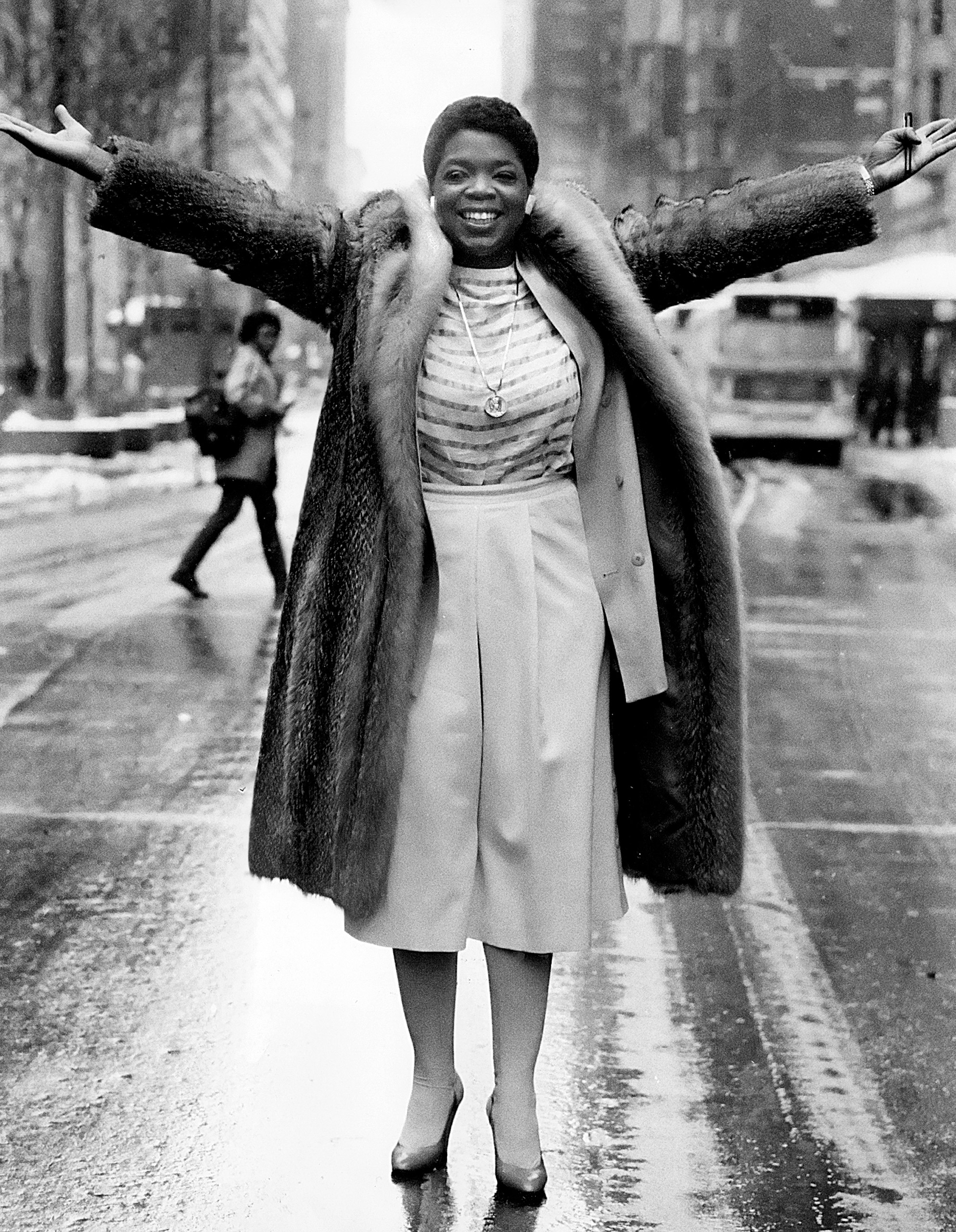 Oprah Winfrey, the host of  AM Chicago , poses for a photo on State Street in Chicago, Illinois, 1984.