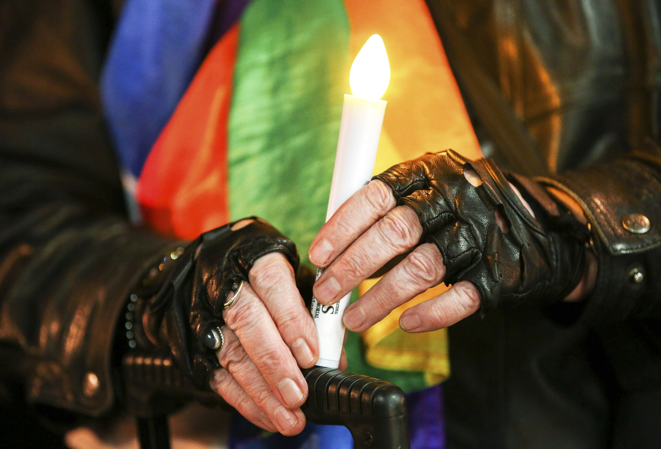 A candlelight vigil for the victims of the Pulse nightclub shooting in Orlando was held at Frank Kitts Park in Wellington, New Zealand, on June 13, 2016.
