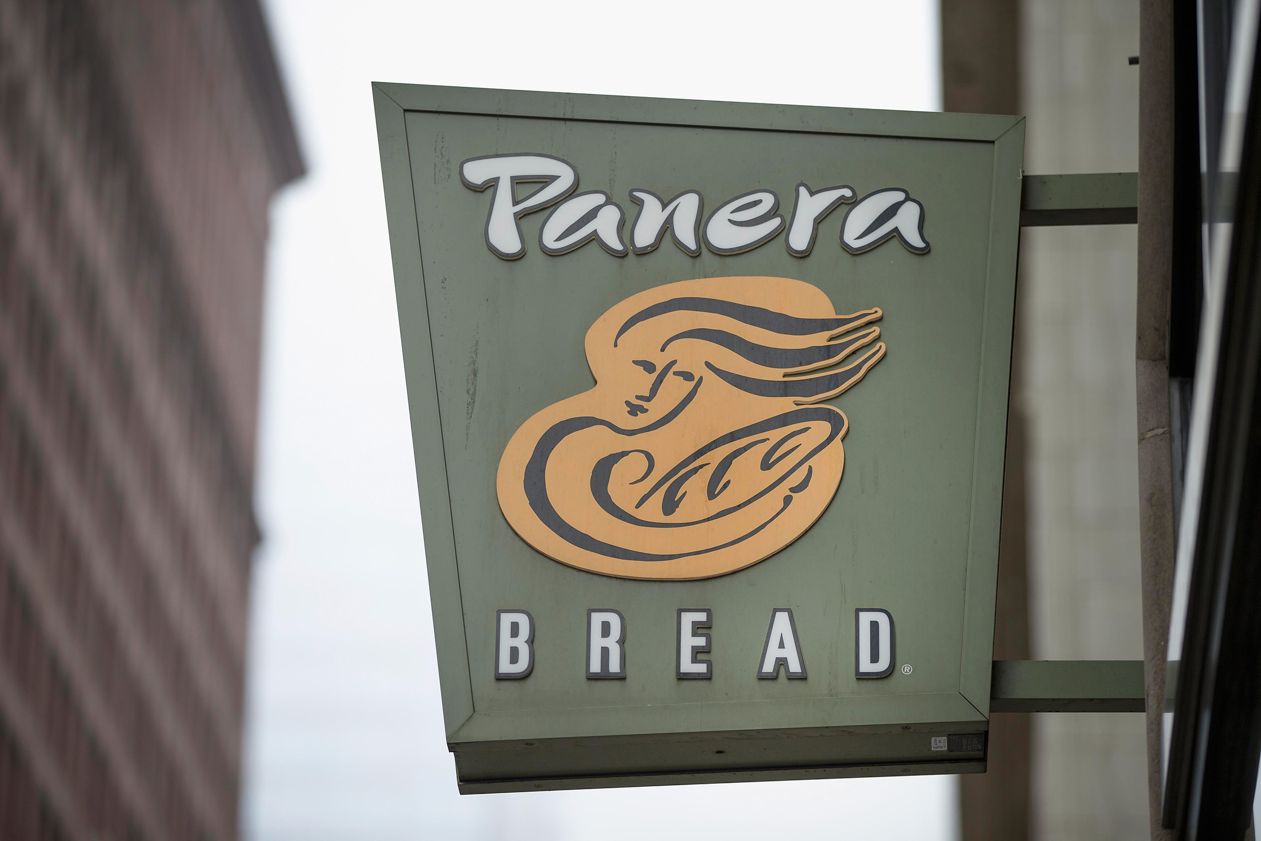 A sign marks the location of a Panera Bread restaurant on in Chicago, May 5, 2015.