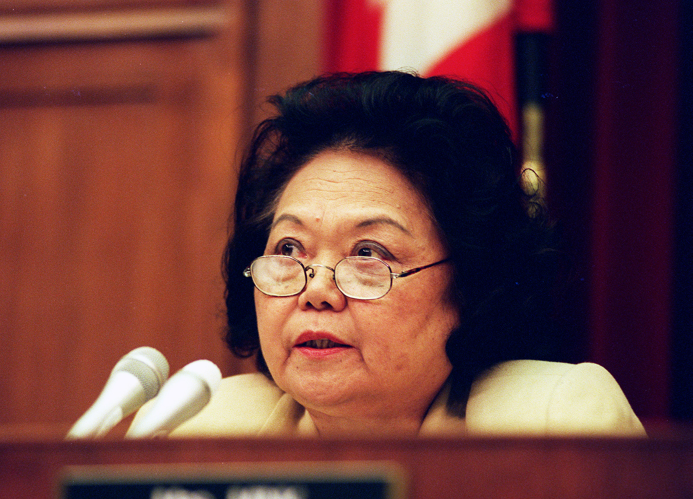Ranking Member Patsy T. Mink,D-Hawaii,during the Oversight and Investigations Subcommittee hearings to analyze the cost of the 1996 teamsters elections and the effects of illegal campaign contributions.