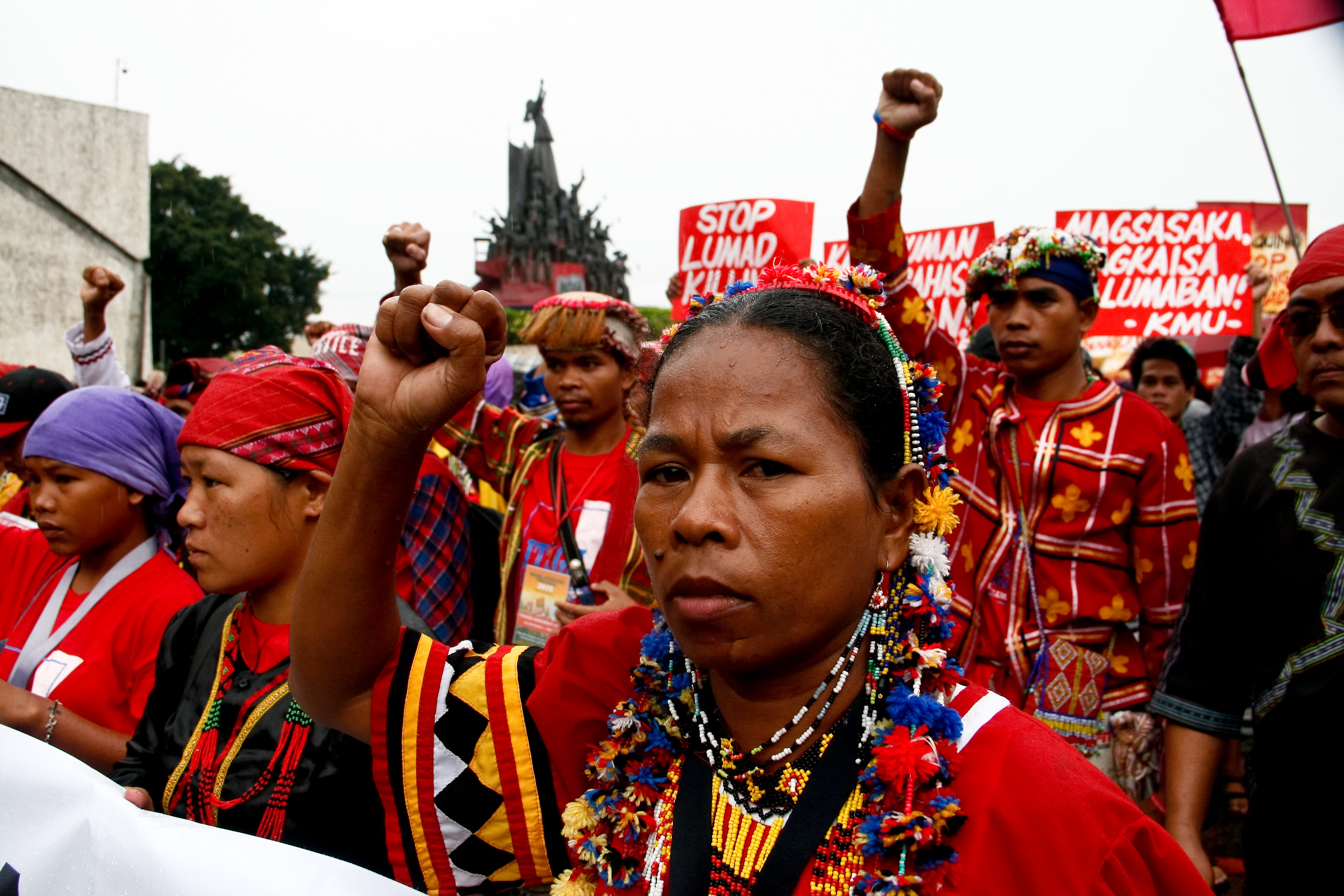 Lumads start their march to Camp Aguinaldo in Quezon City.  Hundreds of  Lumad  marched to the headquarters of the Armed Forces of the Philippines in Camp Aguinaldo, to call for justice for the killings of their tribes men, allegedly perpetrated by members of the Philippine military.