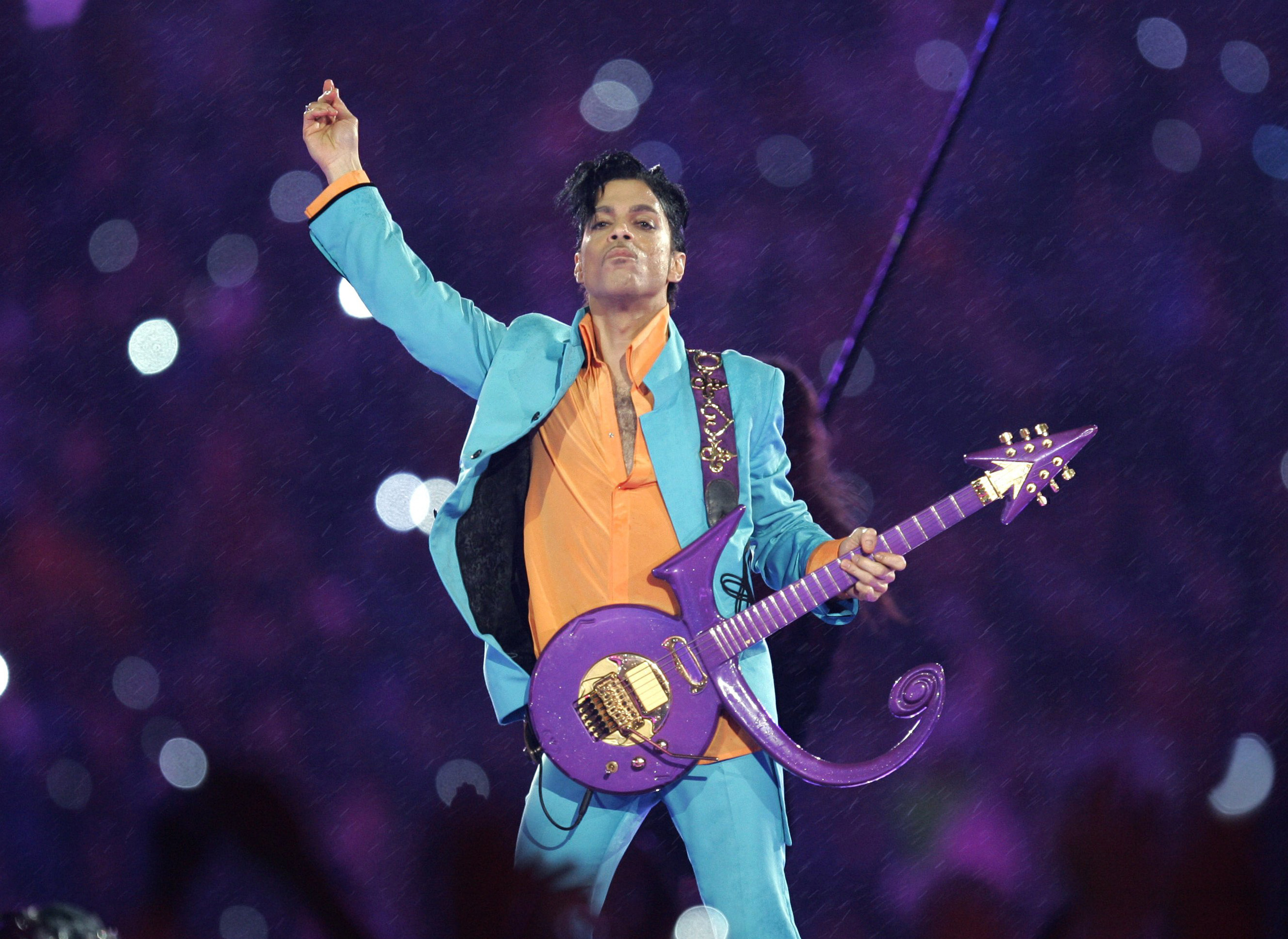 Prince performs during the halftime show at the Super Bowl XLI football game at Dolphin Stadium in Miami, Feb. 4, 2007.