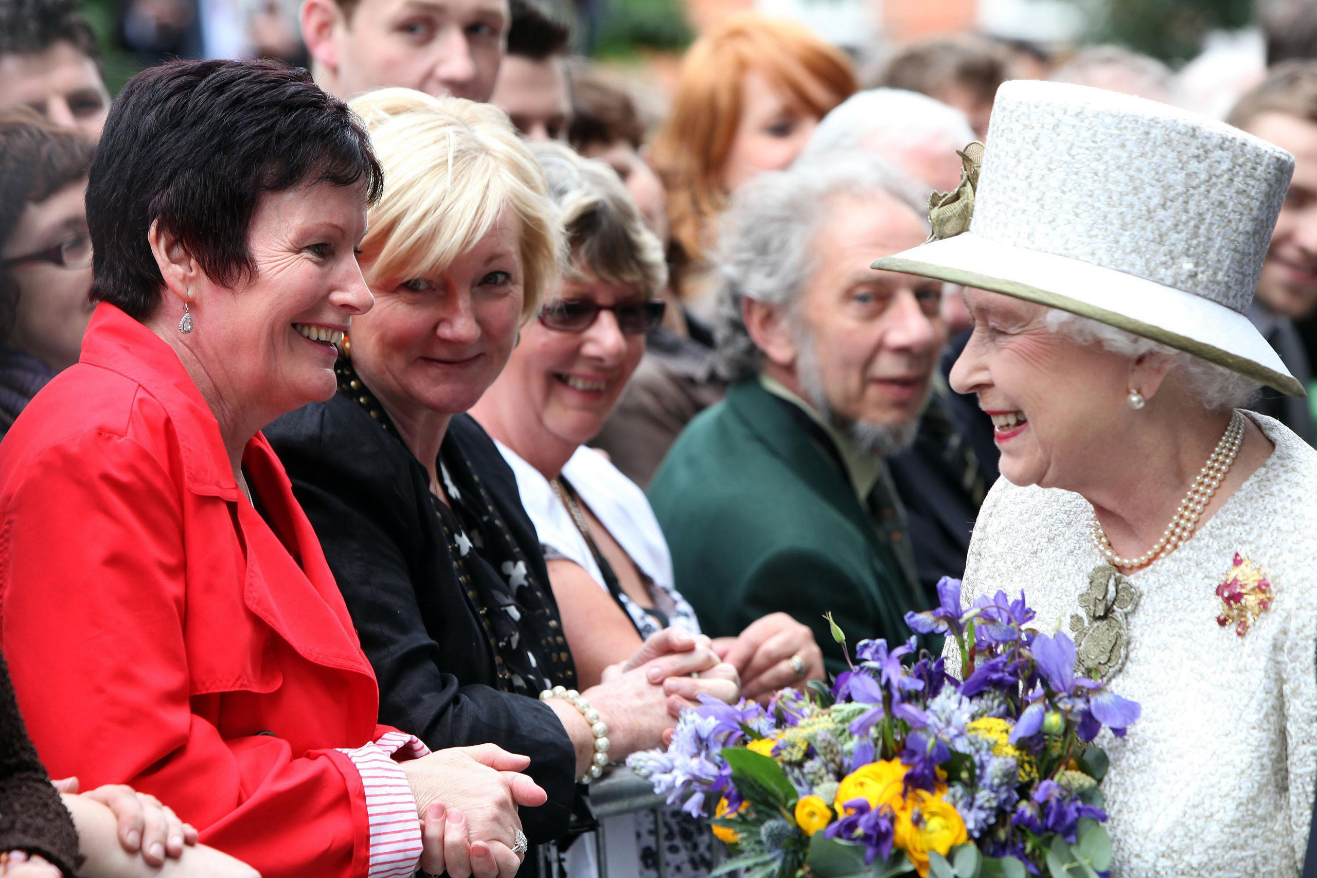 Queen Elizabeth II as she is greeted by a large group of well-wishers, as she leaves Trinity College in Dublin during the first day of her State Visit to Ireland on Dec. 27, 2011.