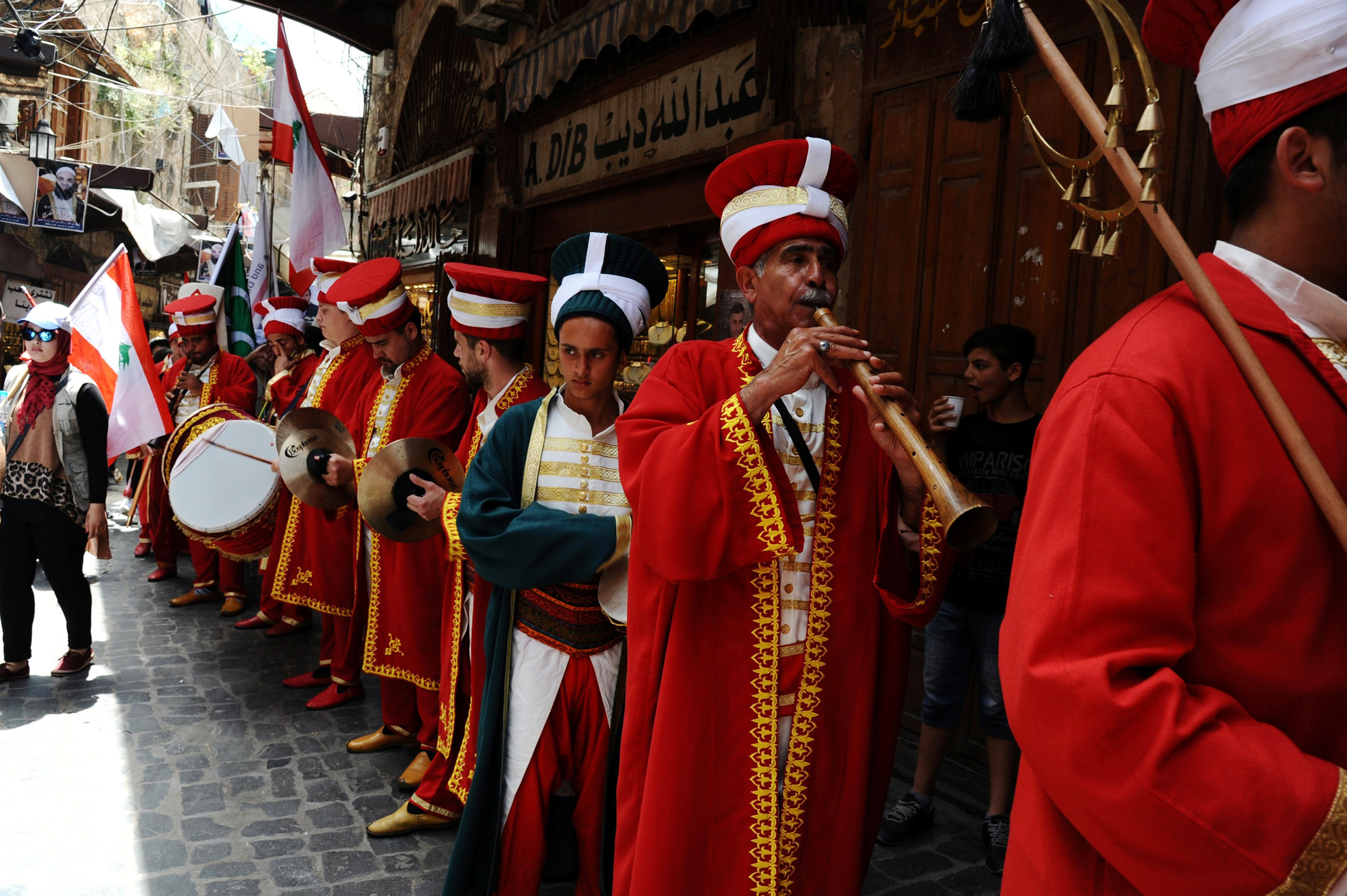 A Turkish band plays music welcoming the holy fasting month of Ramadan in Tripoli, Lebanon, June 3, 2016.