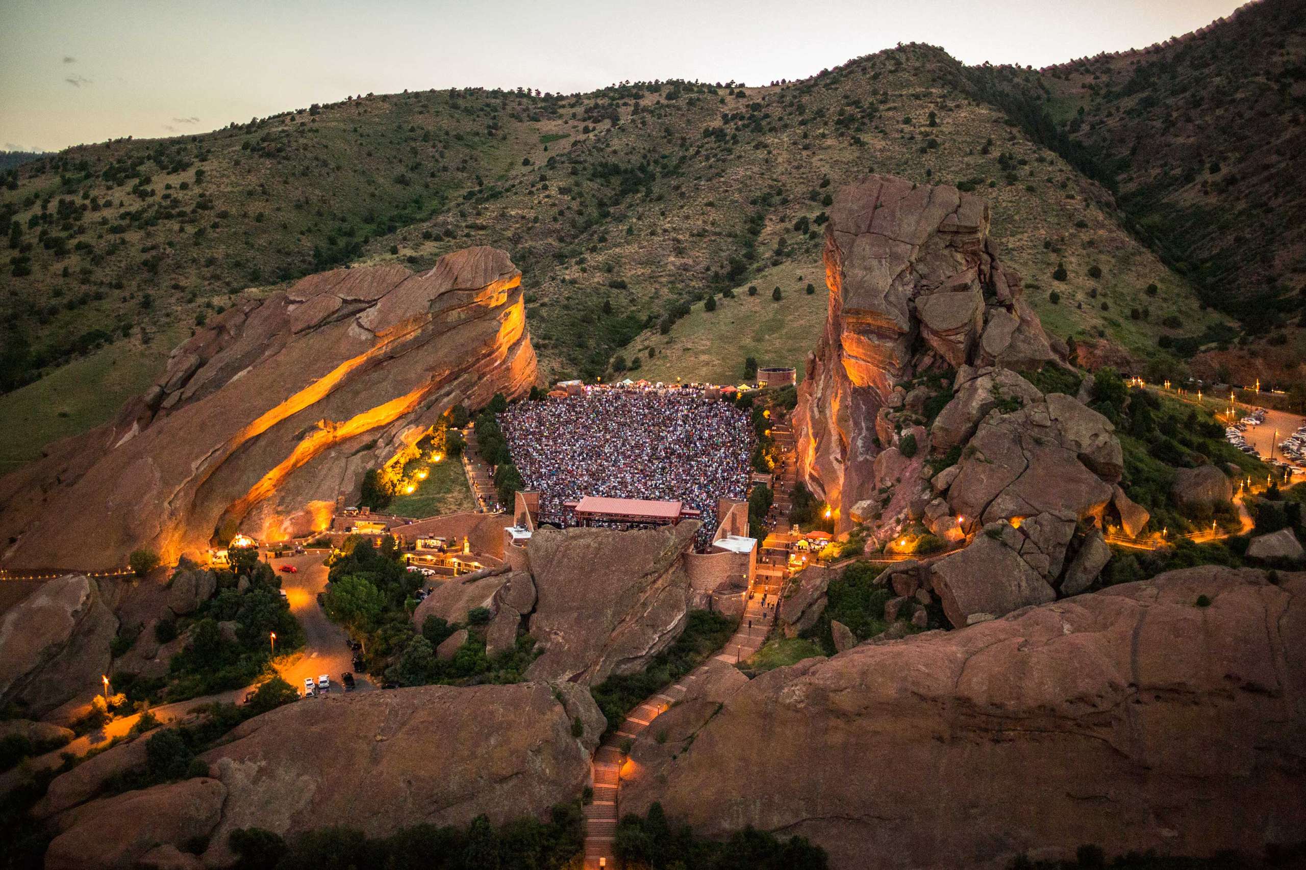 Red Rocks Amphitheatre in Morrison, CO photographed June 19, 2016 during a                                Bob Dylan and Mavis Staples Concert. It is celbrating it's 75th Anniversary this year.