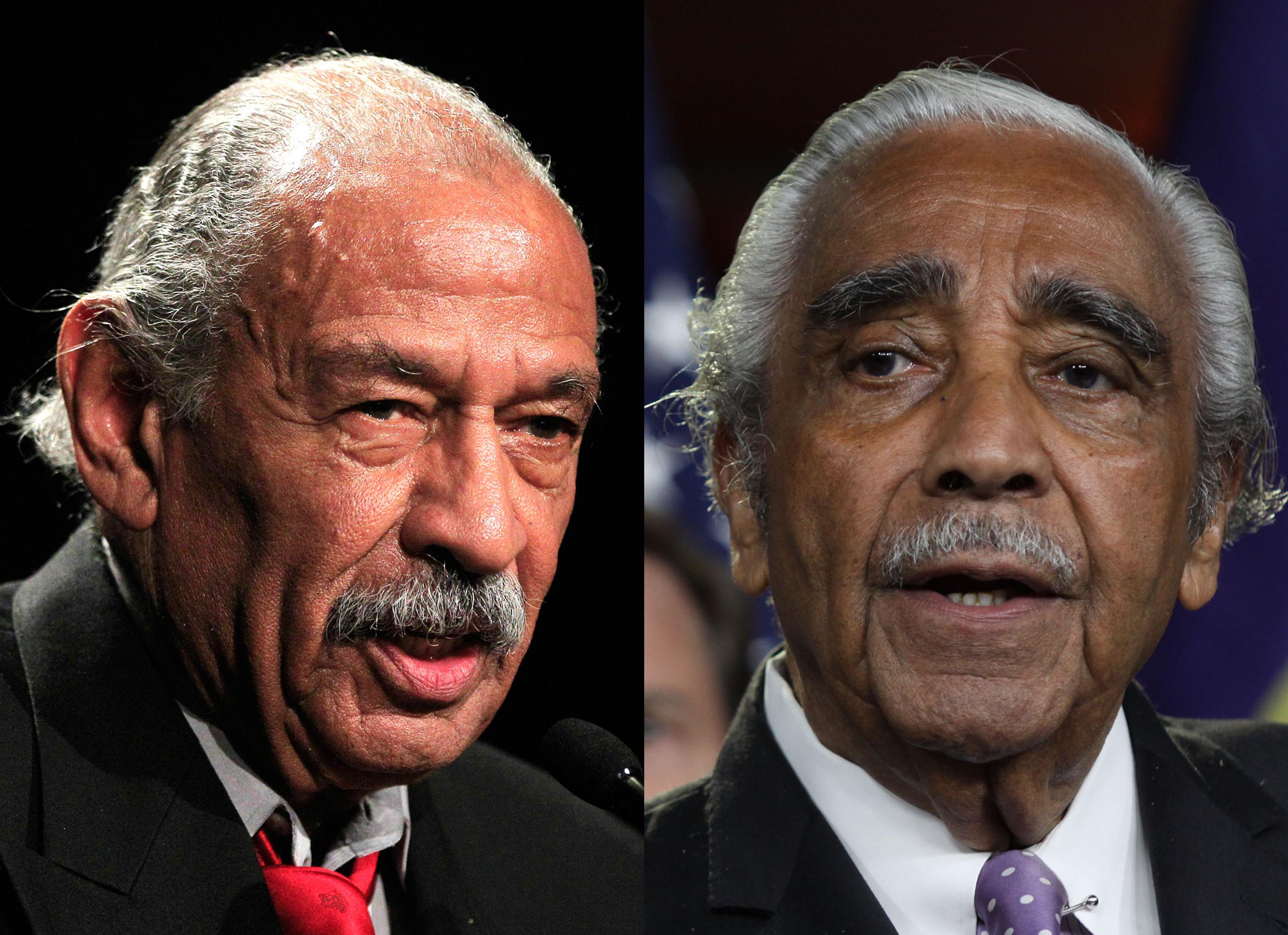 Left: Rep. John Conyers, D-Mich.; Right: Rep. Charles Rangel, D-N.Y.