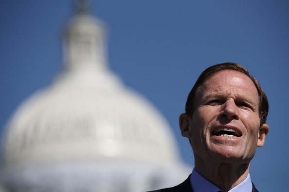 U.S. Sen. Richard Blumenthal (D-CT) speaks at a news conference with gun reform advocates outside the U.S. Capitol April 14, 2016 in Washington, DC.