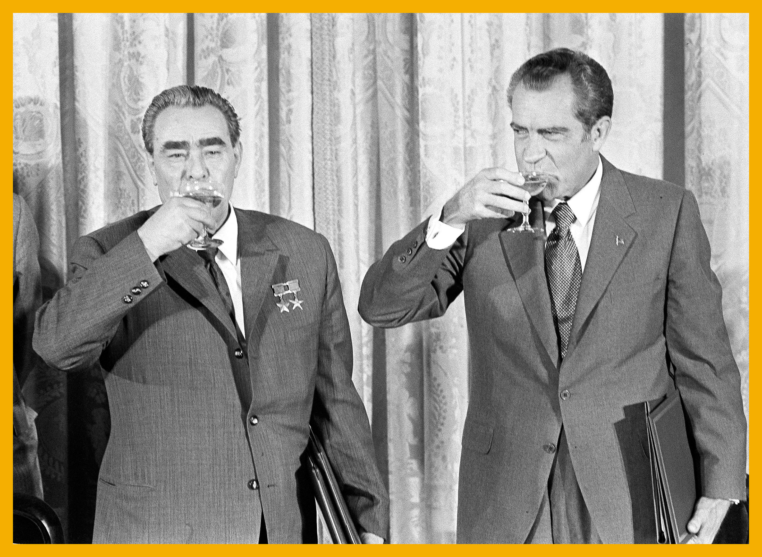 President Richard M. Nixon, right, and Soviet leader Leonid Brezhnev drink a toast at the White House in Washington, June 21, 1973. The toast comes after the two leaders signed a pact to limit offensive nuclear arsenals.