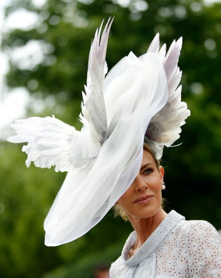 Belinda Studwick poses for photographers as she wears an ornate hat on the first day of the Royal Ascot horse race meeting at Ascot, England, Tuesday, June, 14, 2016. (AP Photo/Alastair Grant)