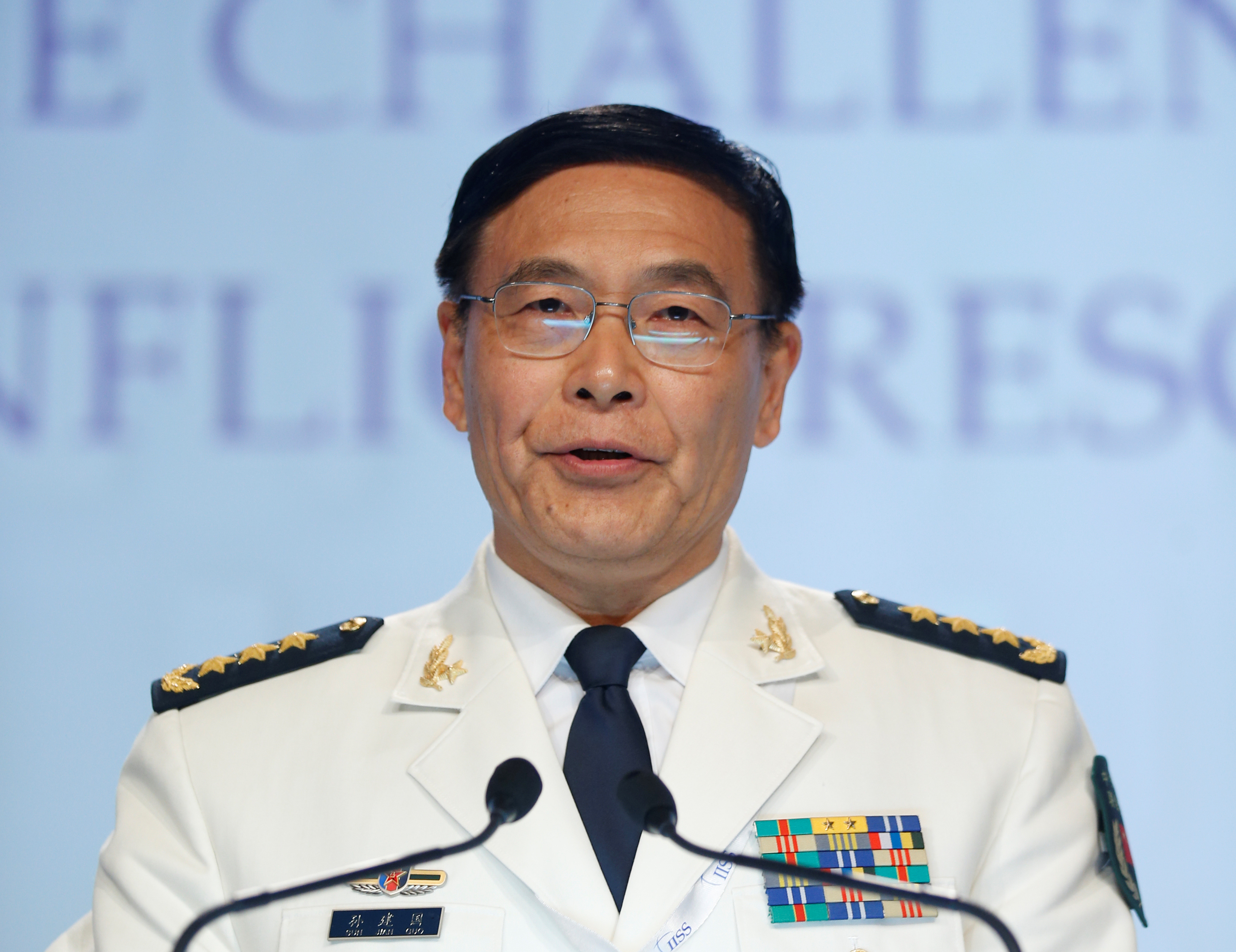 China's Joint Staff Department Deputy Chief Admiral Sun Jianguo speaks at the IISS Shangri-La Dialogue in Singapore June 5, 2016