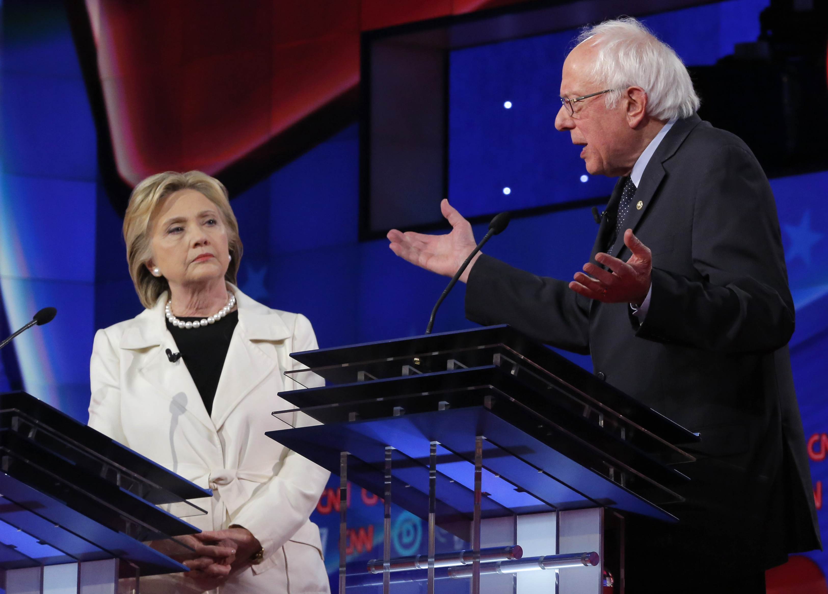 Democratic U.S. presidential candidates Hillary Clinton and Bernie Sanders during a Democratic debate hosted by CNN and New York One in New York April 14, 2016.