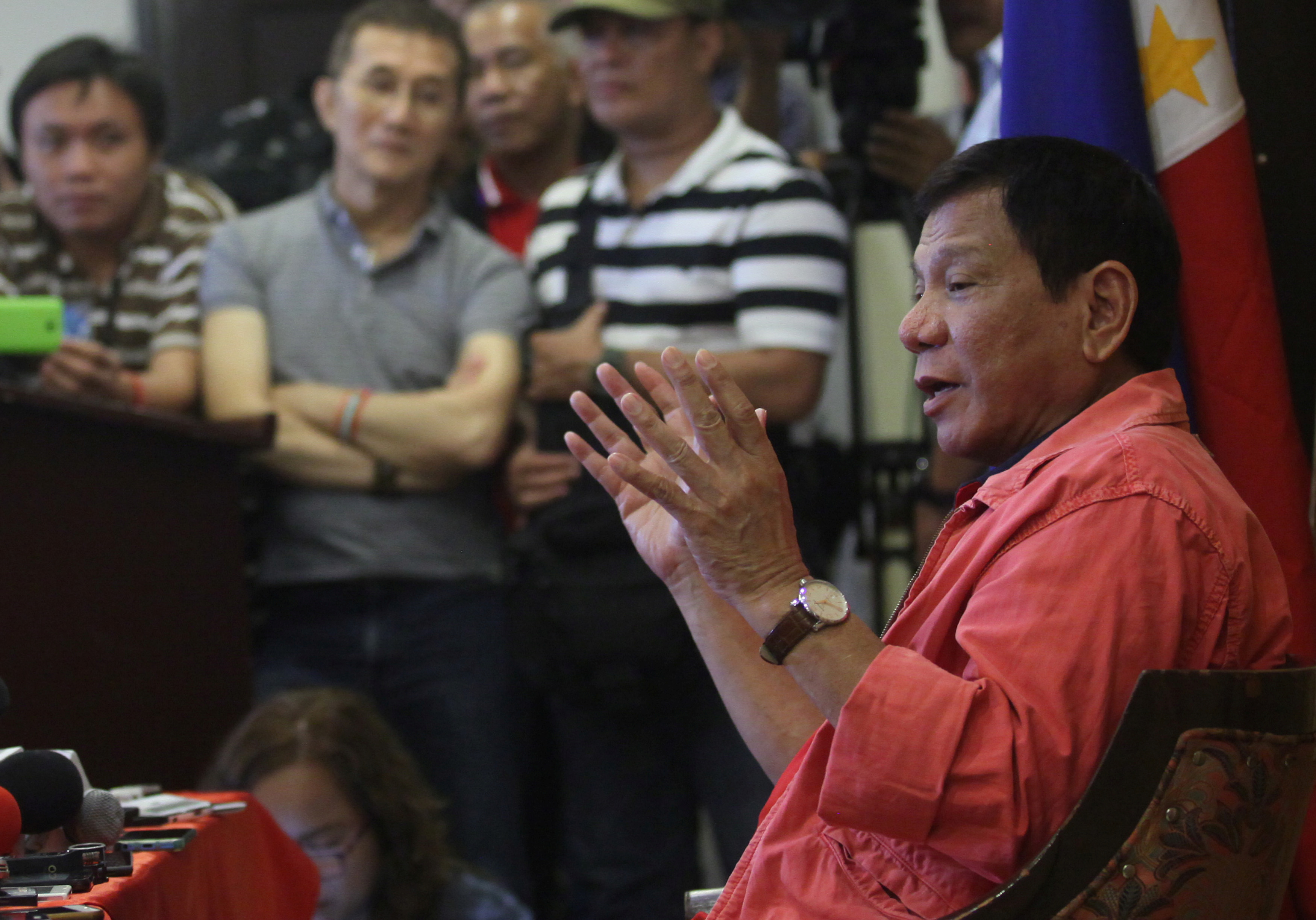 Philippine President-elect Rodrigo Duterte during a news conference at a hotel in Davao City, in southern Philippines, on May 26, 2016