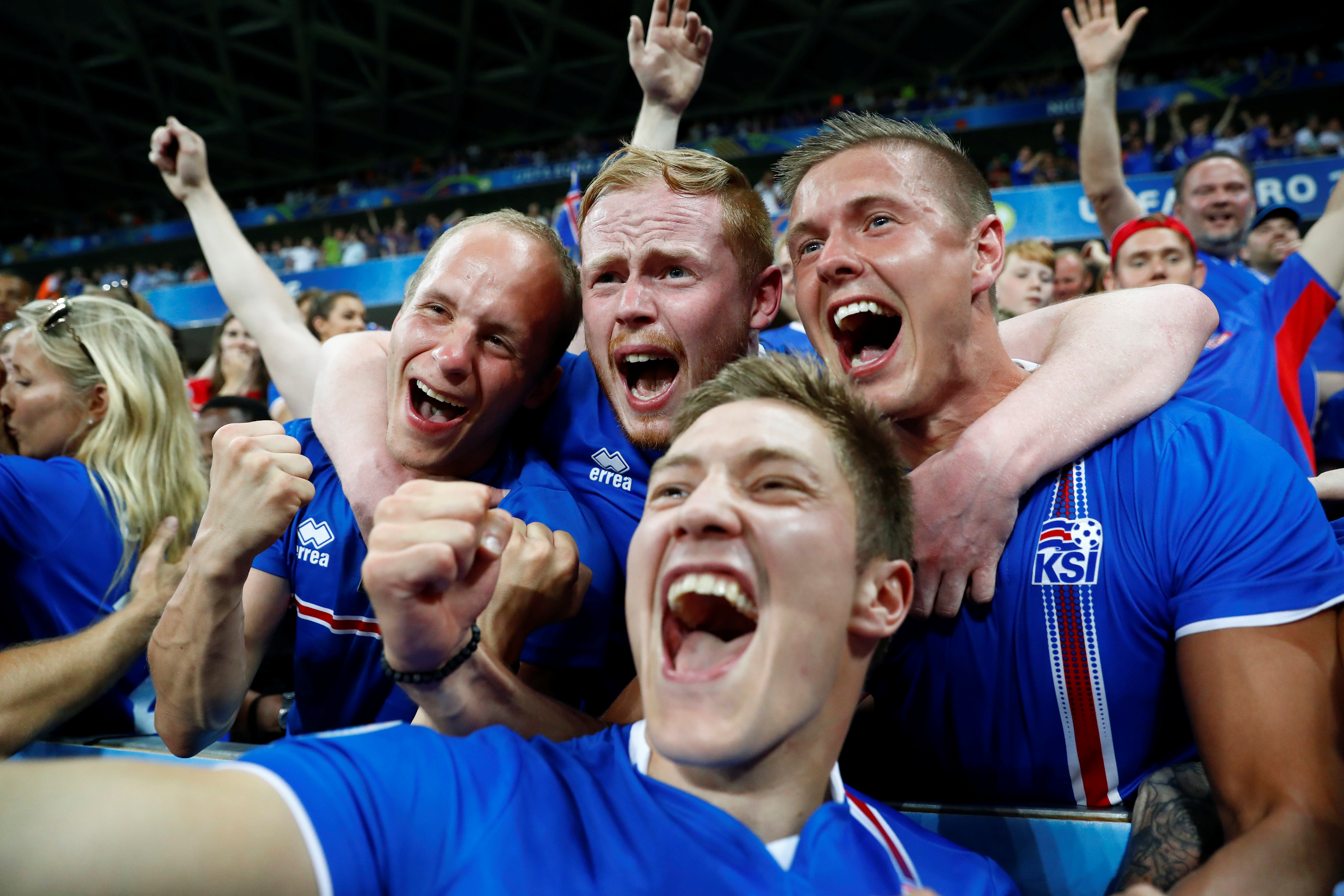 Iceland fans celebrate after their team defeats England 2-1 in a Euro 2016 game at the Stade de Nice, in Nice, France,  on June 27 2016