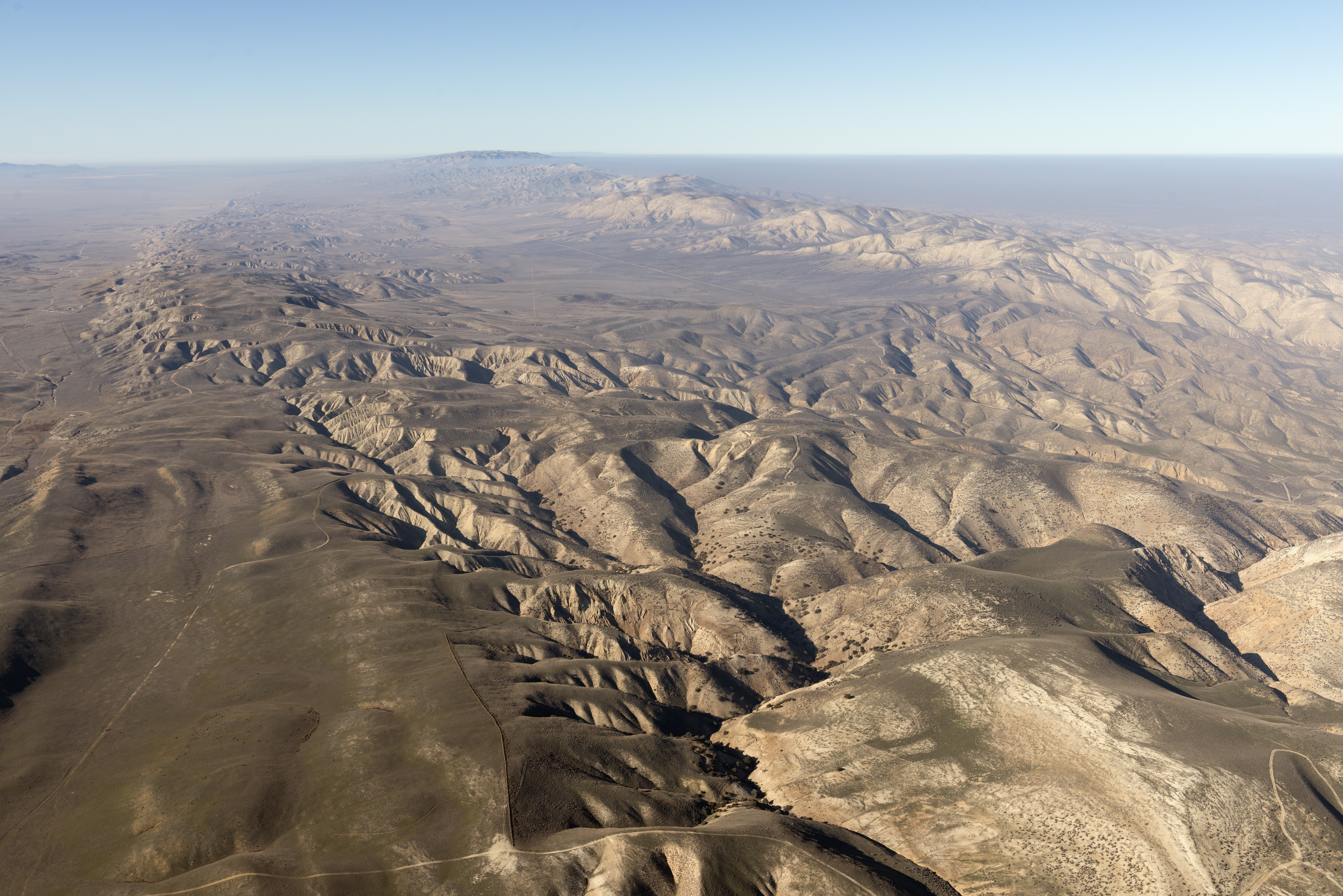 Aerial view of a portion of the San Andreas fault in the California Sierra Madre Mountains.