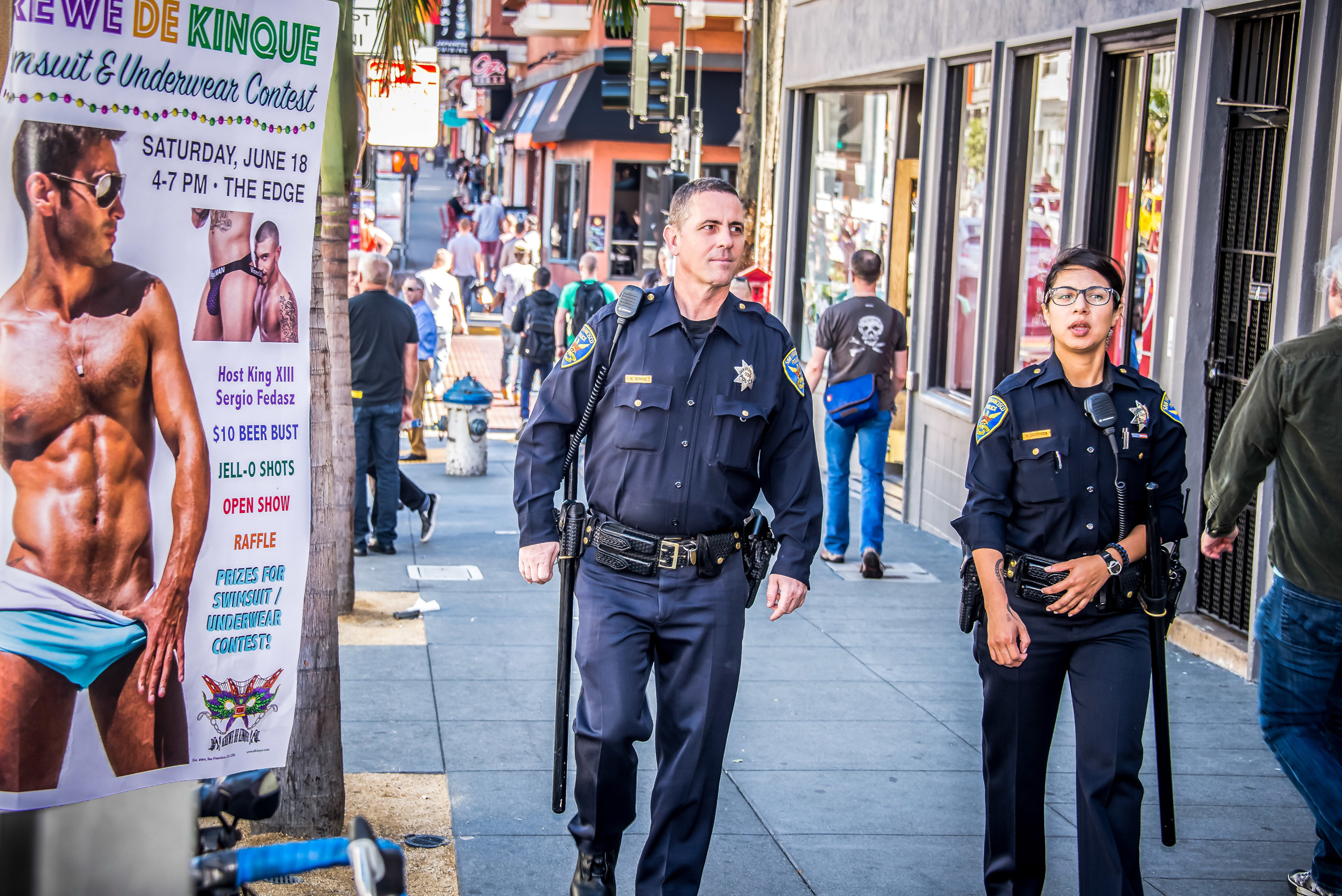 SFPD Officers patrol Castro Street in San Francisco on June 18, 2016.