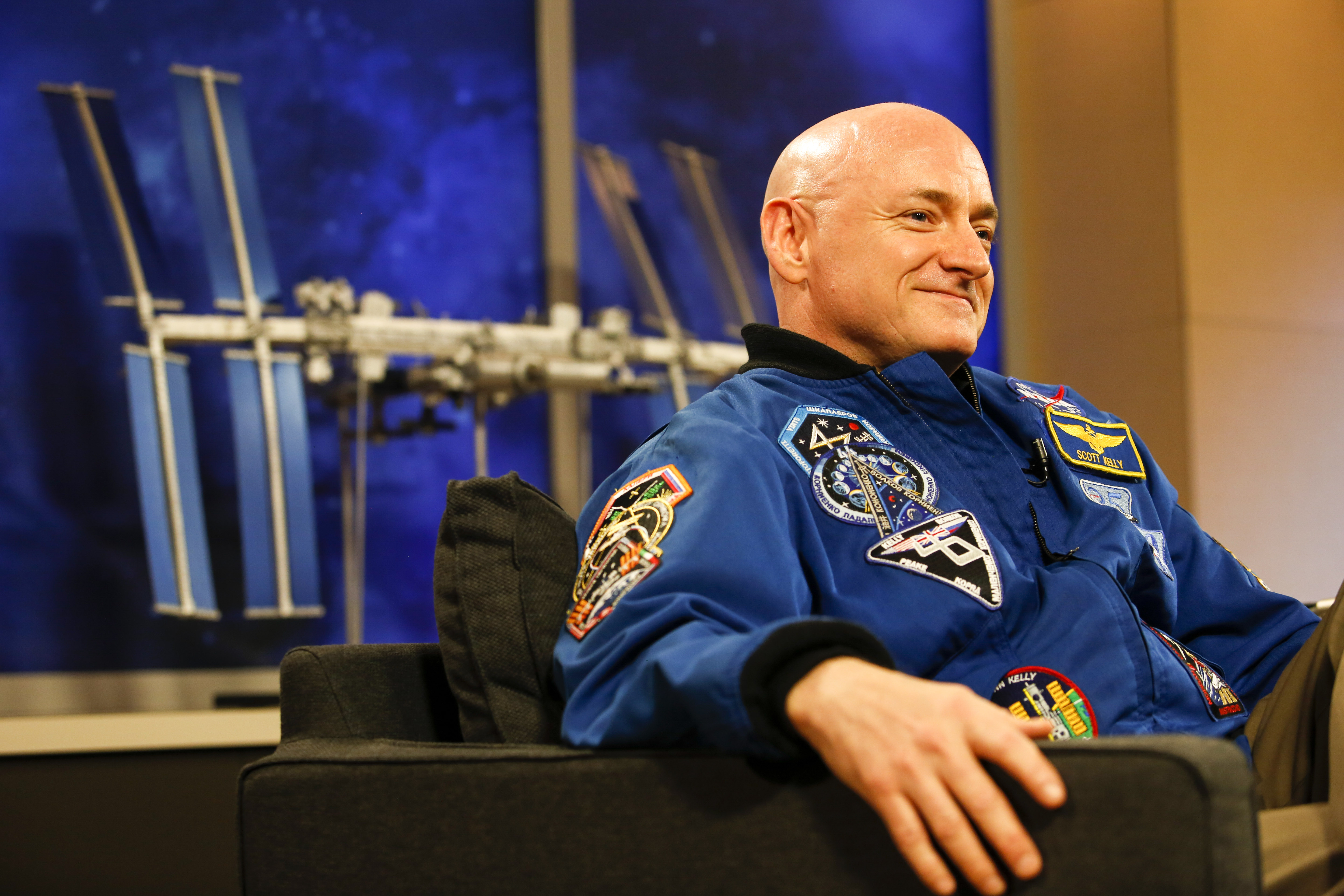 NASA Astronaut Scott Kelly speaks to the media after returning from a one year mission in space at the Johnson Space Center in Texas on March 4, 2016.