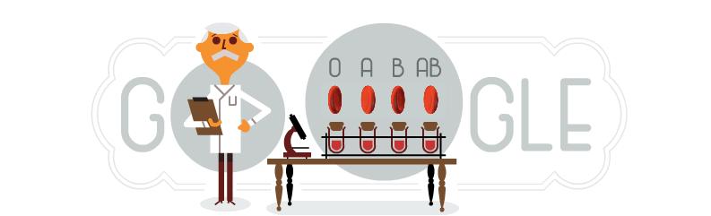 Google Doodle honoring Karl Landsteiner