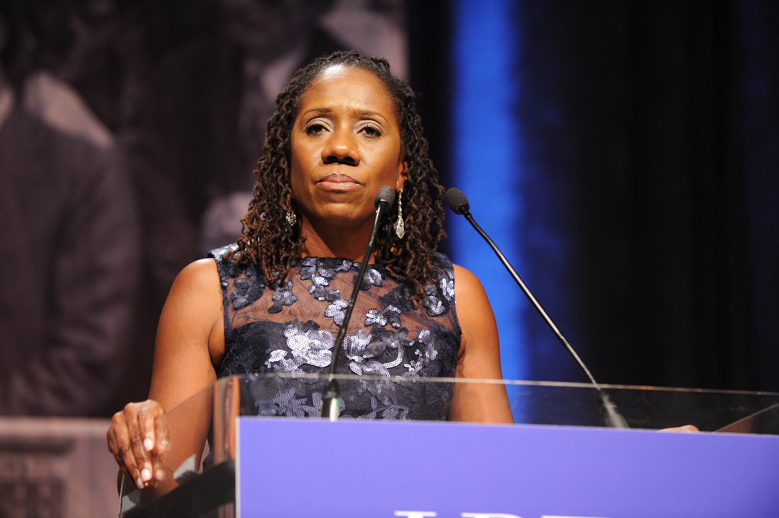 President and Director-Counsel of the LDF Sherrilyn Ifill speaks onstage during the Legal Defense Fund Annual Gala to commemorate the 60th anniversary of Brown V. Board of Education at the New York Hilton Midtown on November 6, 2014 in New York City.