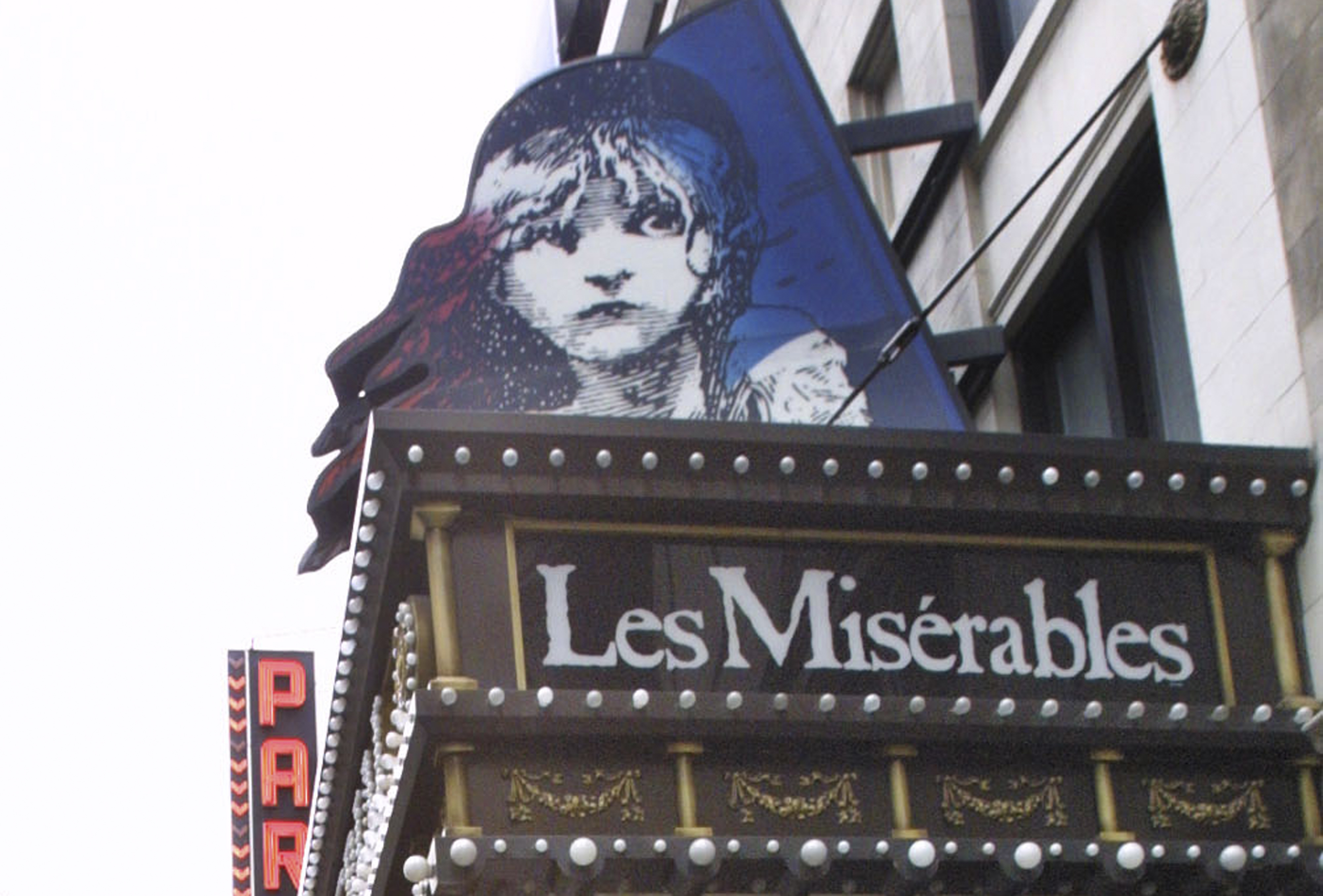 Amarquee displays the advertisement for theater show Les Miserables, in New York on March 11, 2003.