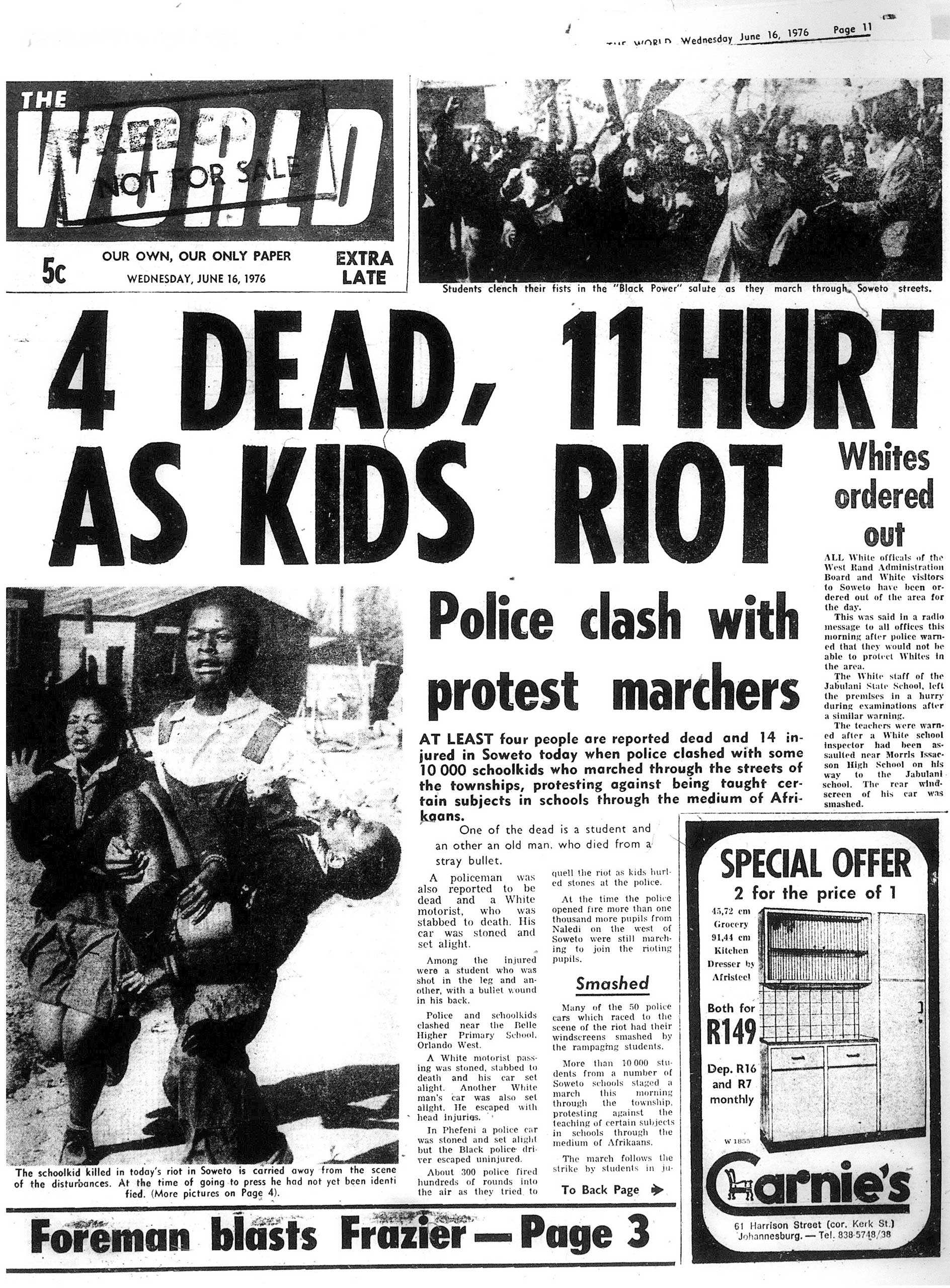 Sam Nzima's photo used in The World on June 16, 1976.