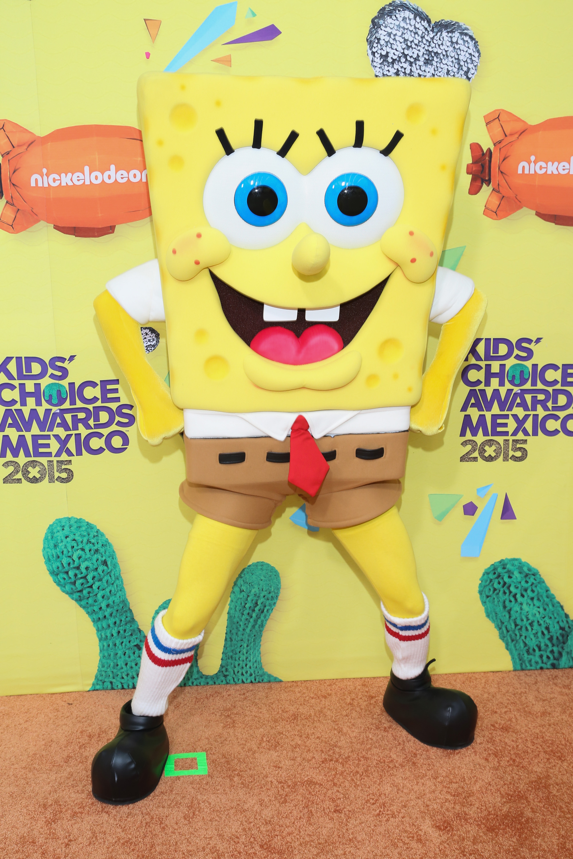 SpongeBob SquarePants arrives at Nickelodeon Kids' Choice Awards Mexico 2015 Red Carpet on August 15, 2015 in Mexico City, Mexico.