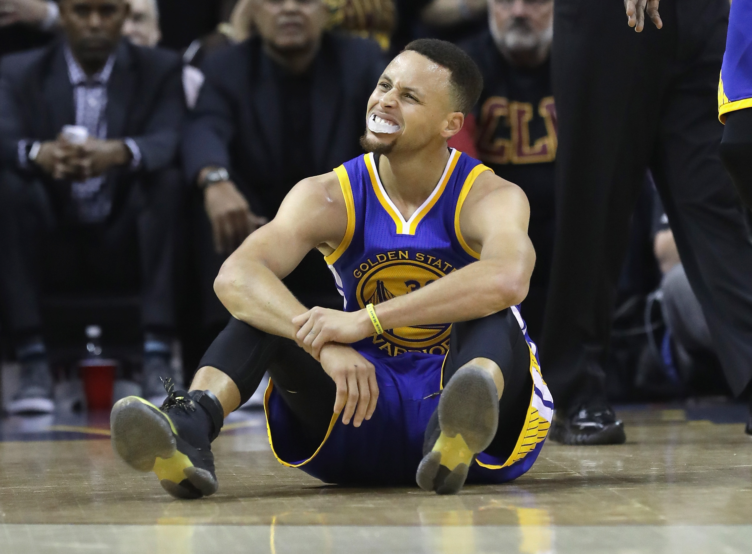 Stephen Curry of the Golden State Warriors reacts after a call in the first half against the Cleveland Cavaliers in Game 6 of the 2016 NBA Finals at Quicken Loans Arena on June 16, 2016 in Cleveland, Ohio.