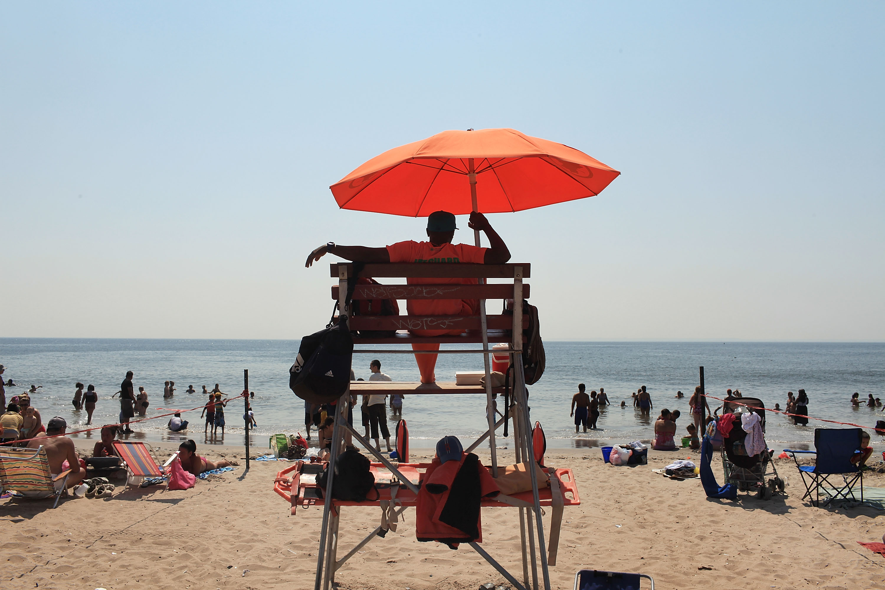 A life guard watches swimmers on a hot afternoon at Coney Island on Aug. 31, 2010 in New York City.