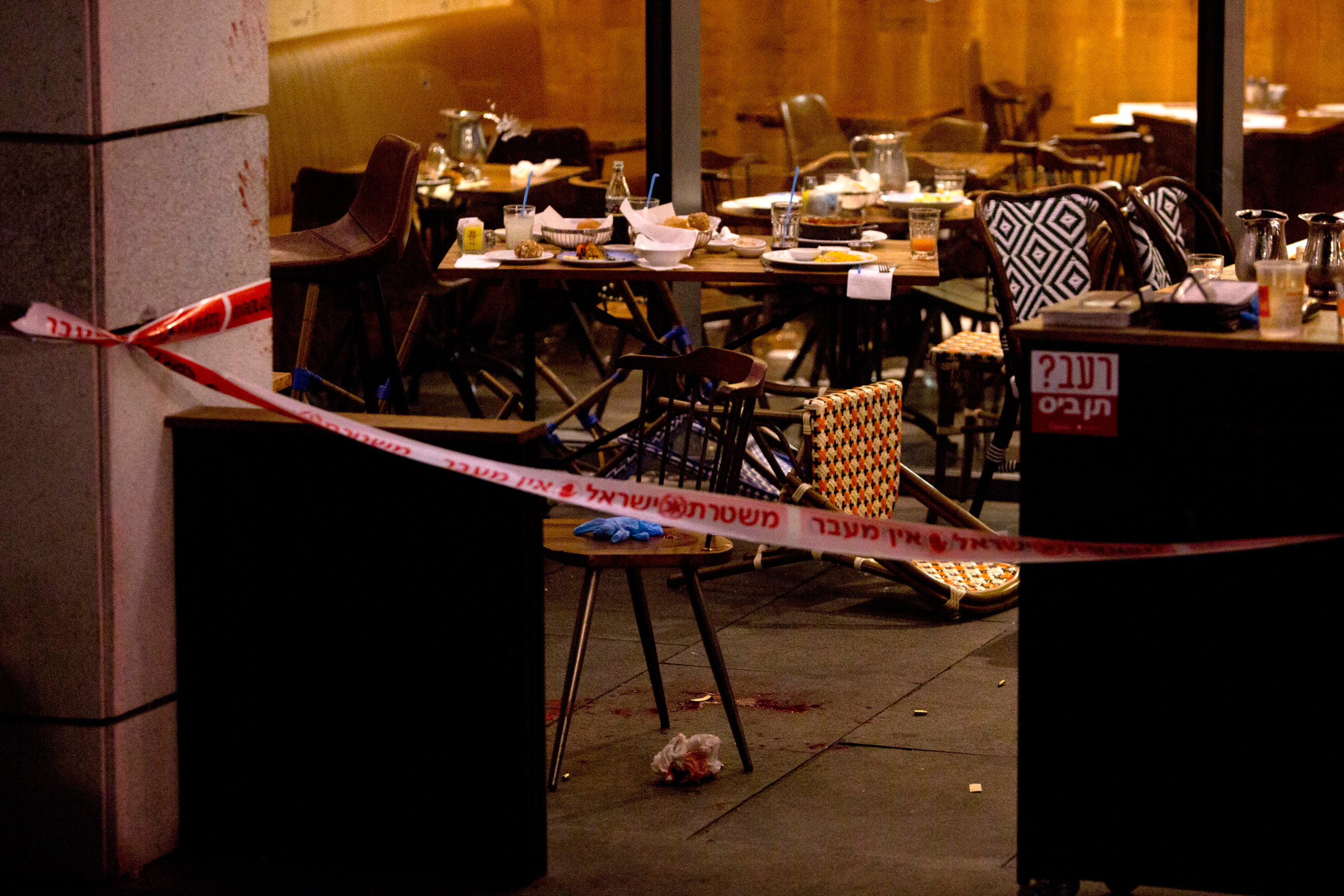The scene of a shooting attack is seen in Tel Aviv on June 8, 2016