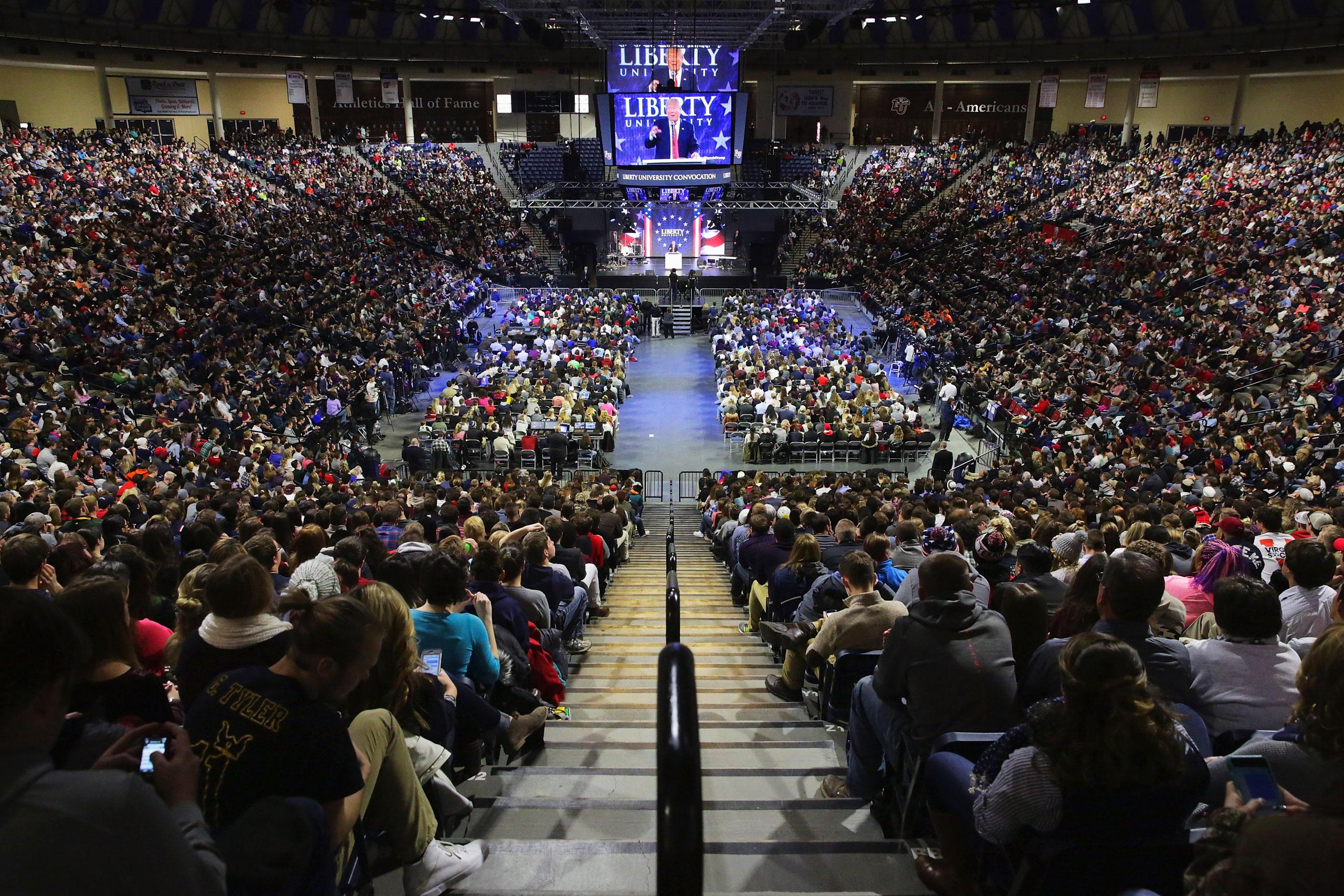 Trump spoke in January at JerryFalwell Jr.'s Liberty University in Lynchburg, Va.