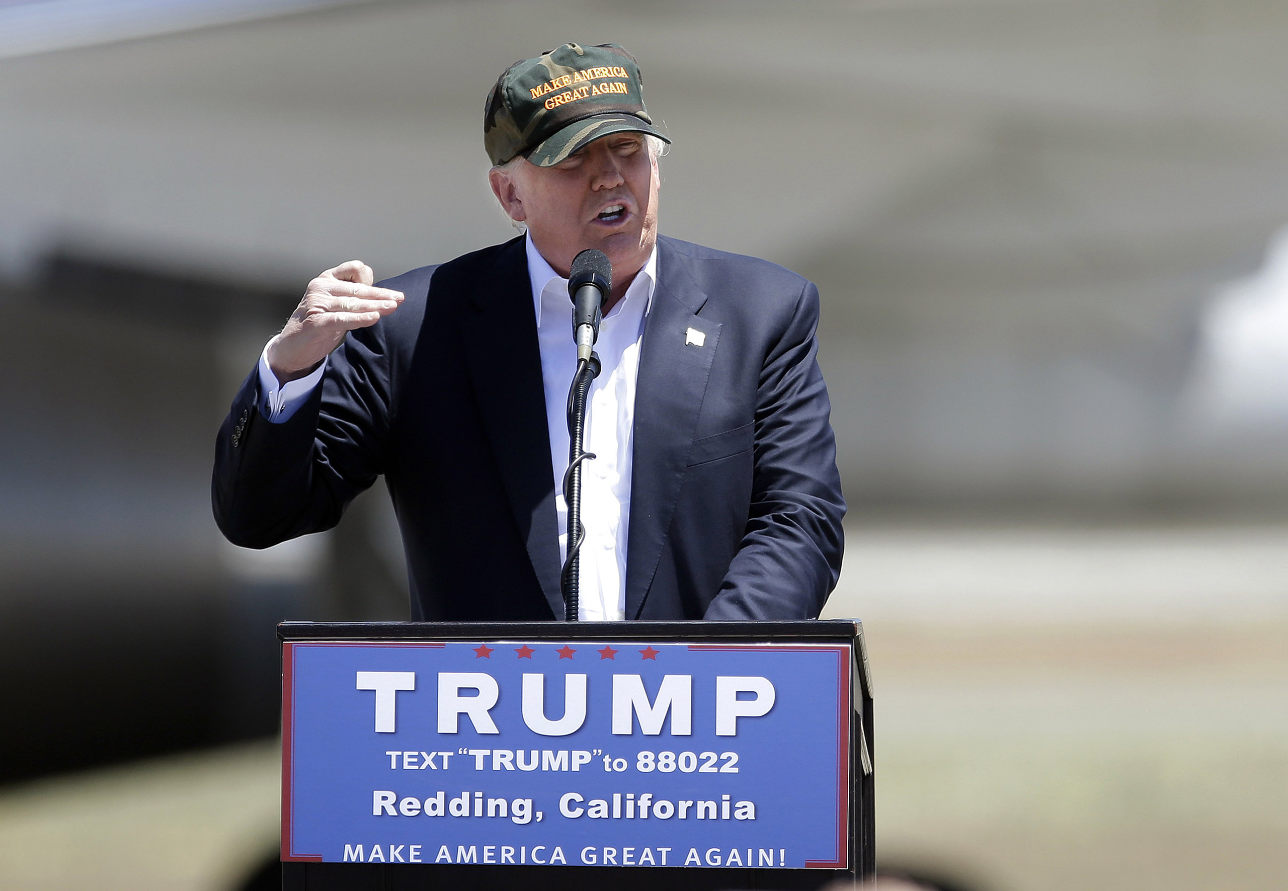 Donald Trump speaks at a campaign rally at the Redding Municipal Airport in Calif., June 3, 2016.