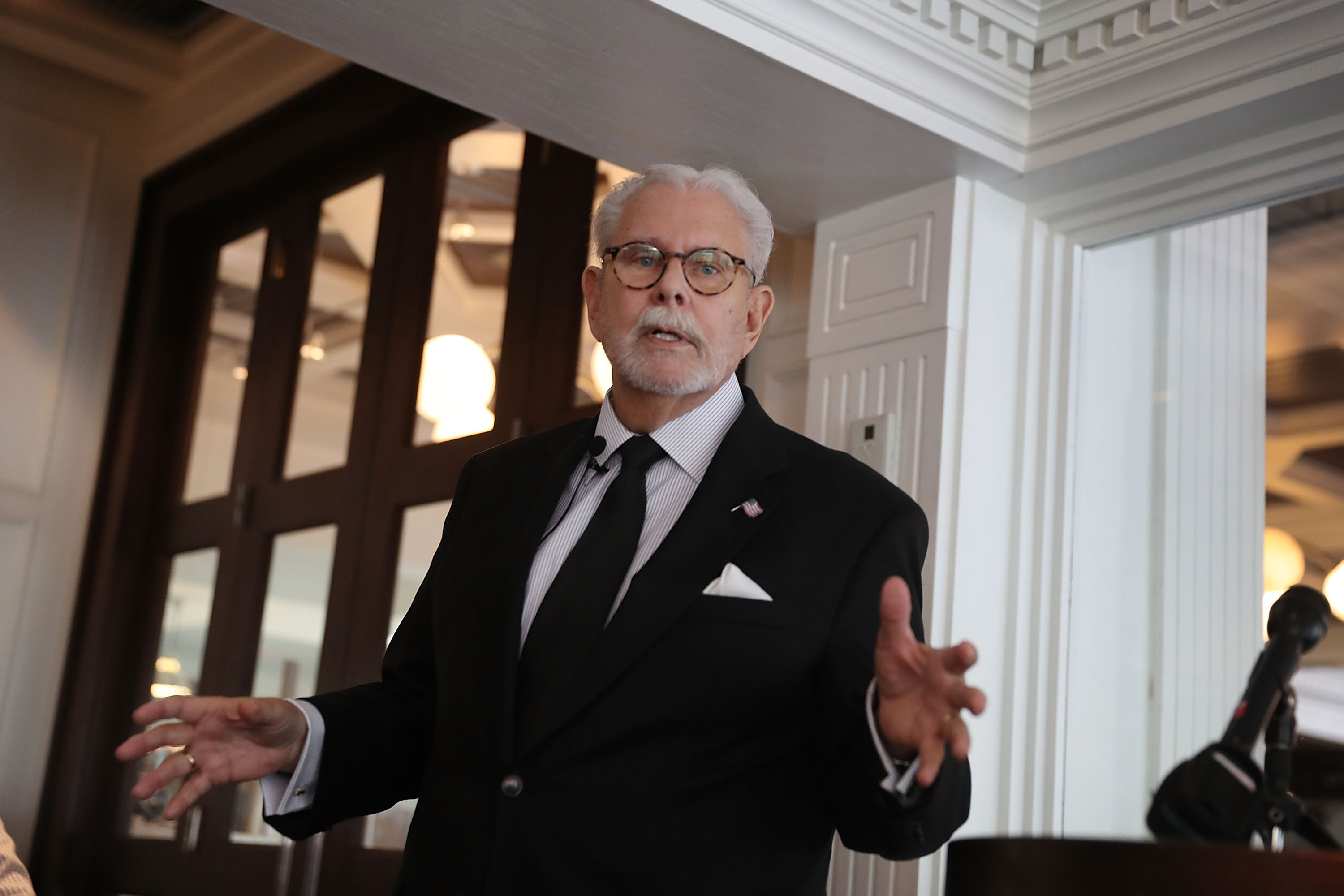 Tony Senecal, the former butler for Republican presidential candidate Donald Trump at his Mar-a-Lago estate, speaks to the Gold Coast Tiger Bay Club on June 8 in Boca Raton, Florida.