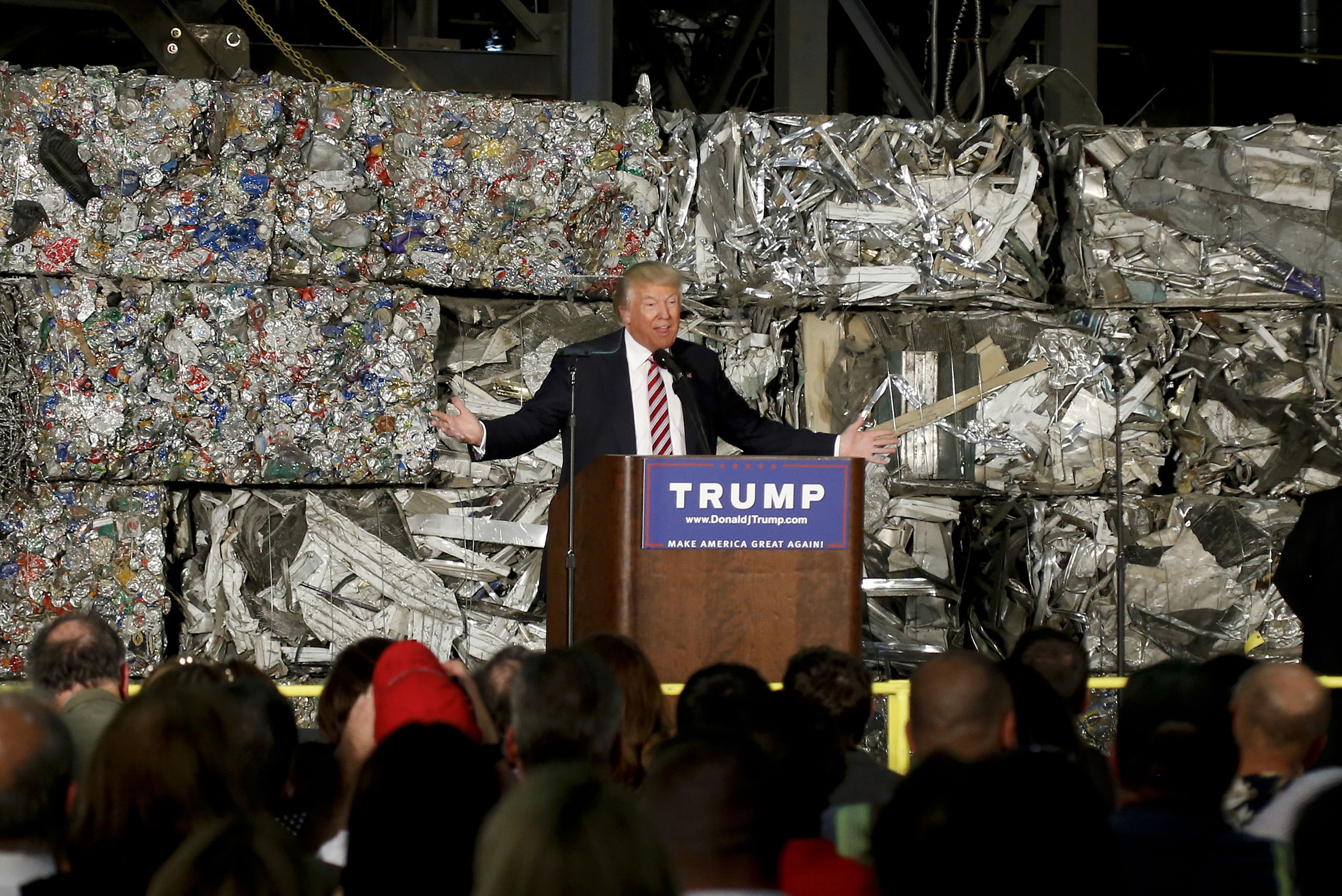 Donald Trump speaks during a campaign stop at Alumisource, a metals recycling facility in Monessen, PA, June 28, 2016.