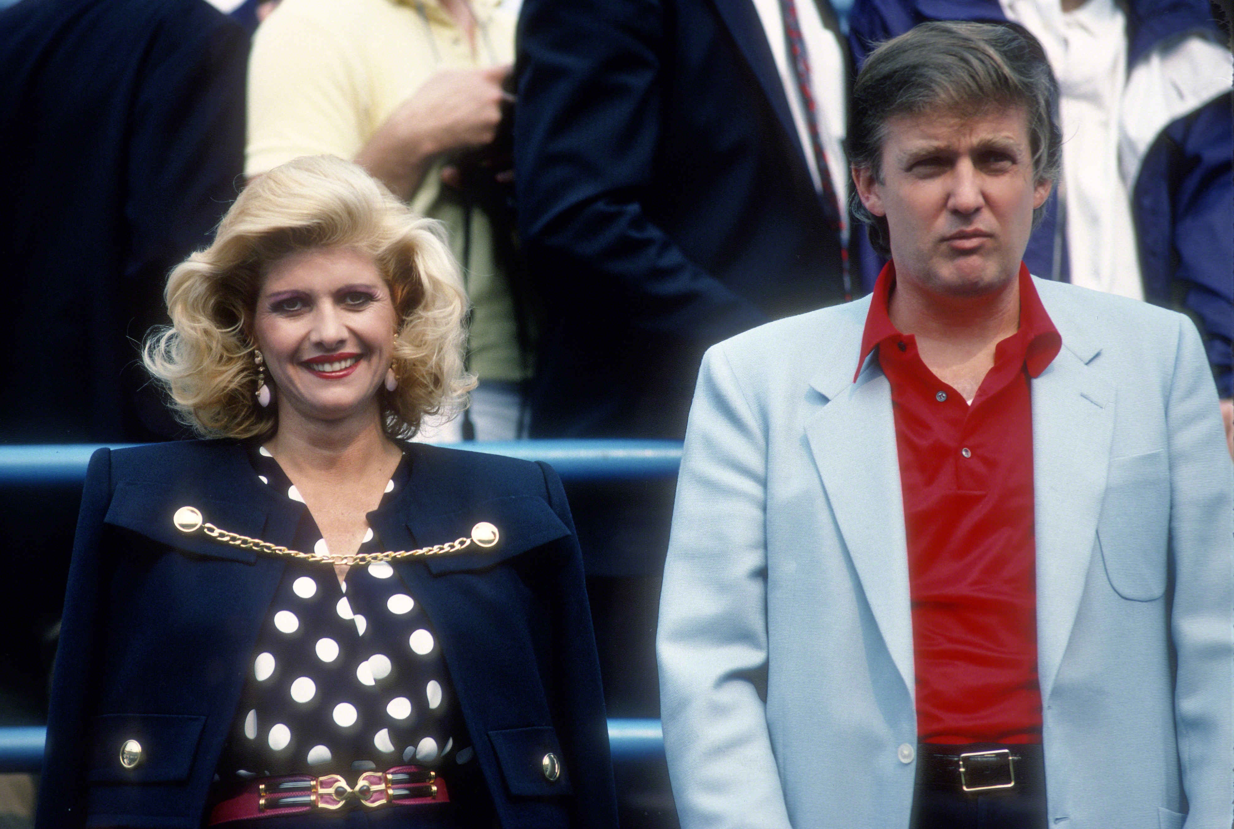 Ivana Trump and Donald Trump attend the U.S. Open Tennis Tournament circa 1988.