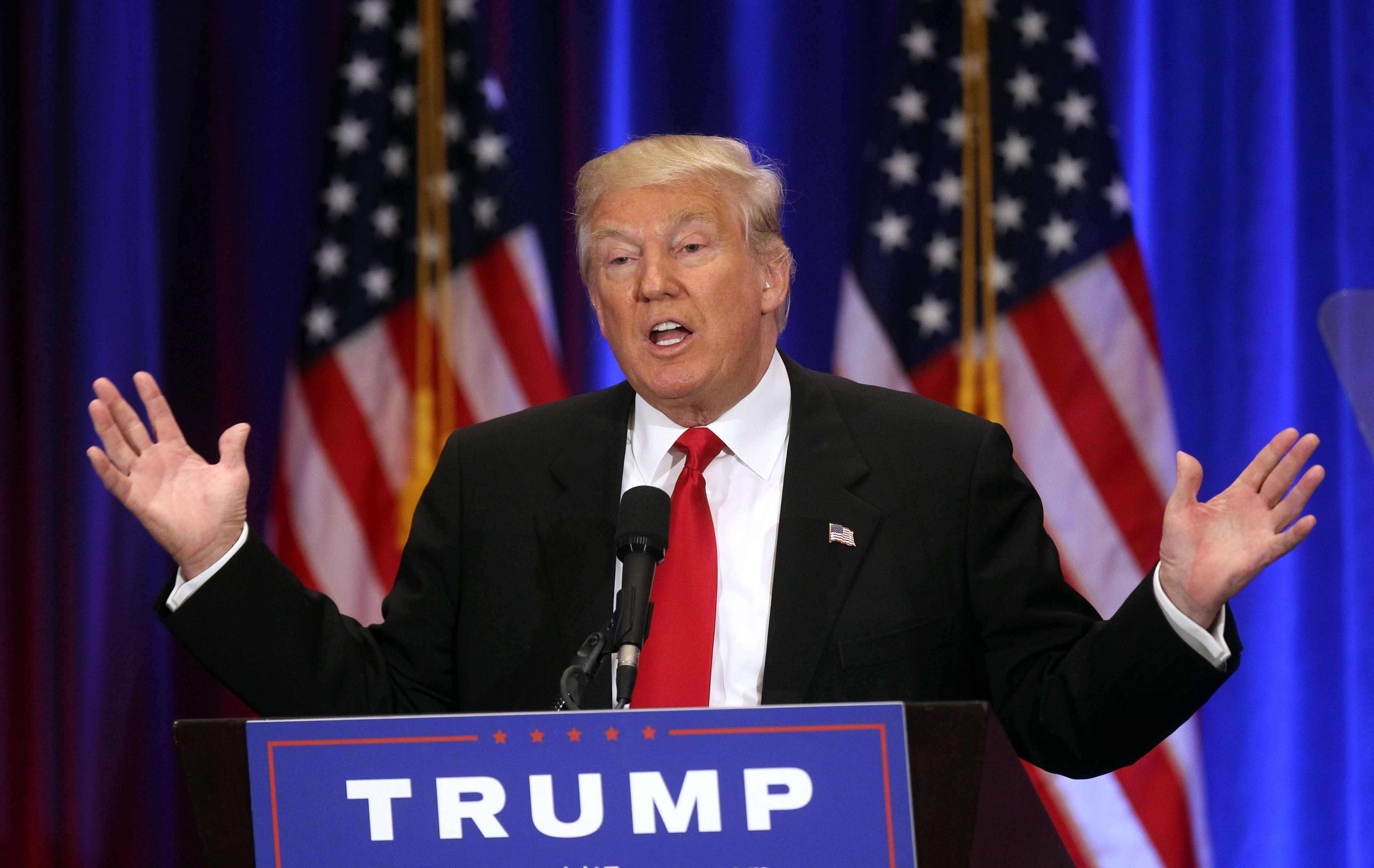 Donald J Trump gives campaign speech at Trump SoHo in New York City on June 22, 2016.